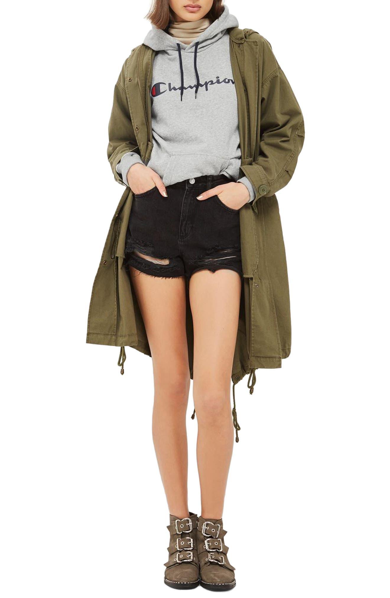 Ripped Mom Shorts,                         Main,                         color, Washed Black