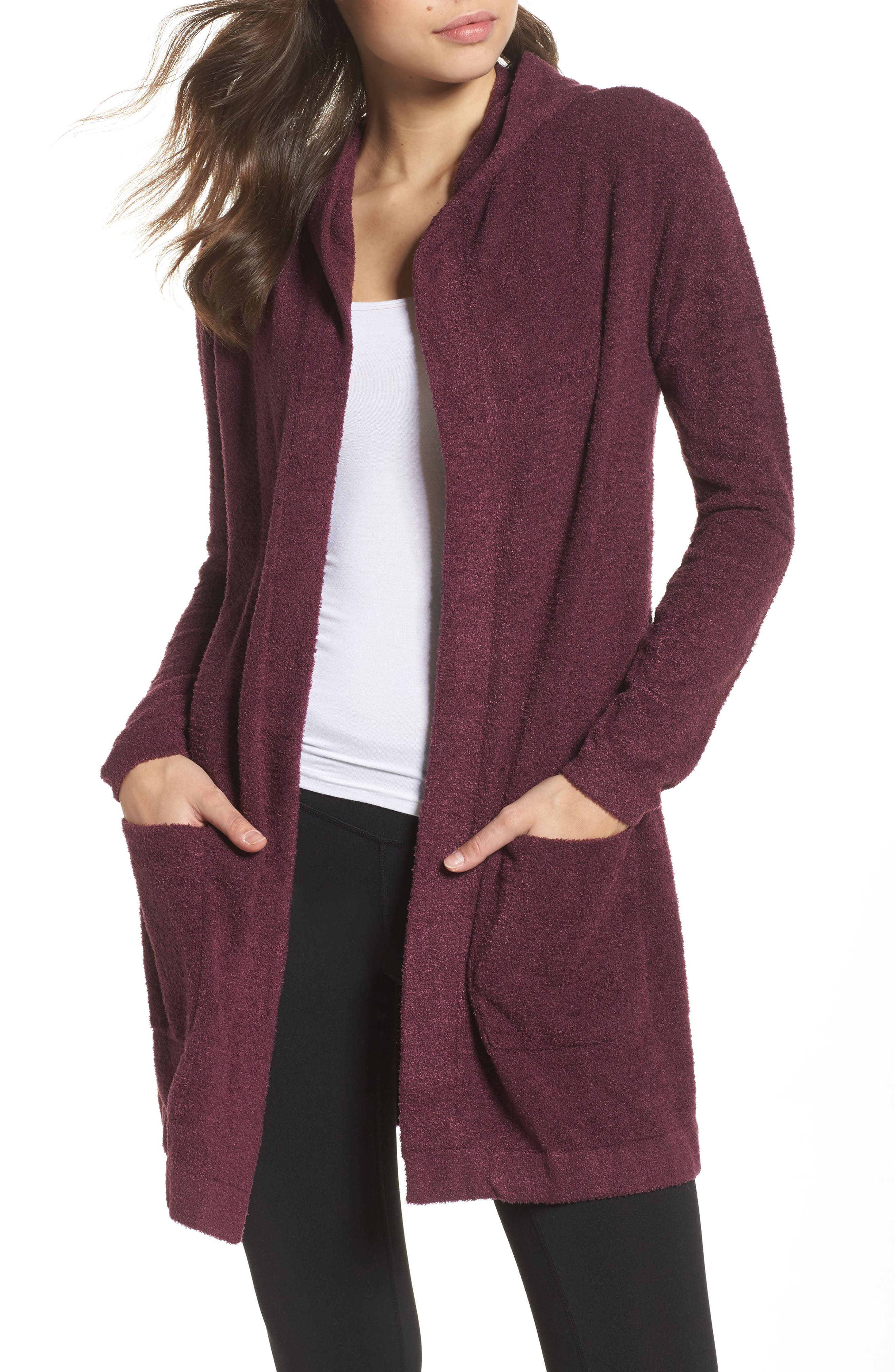 Main Image - Barefoot Dreams® Cozychic Lite® Coastal Hooded Cardigan