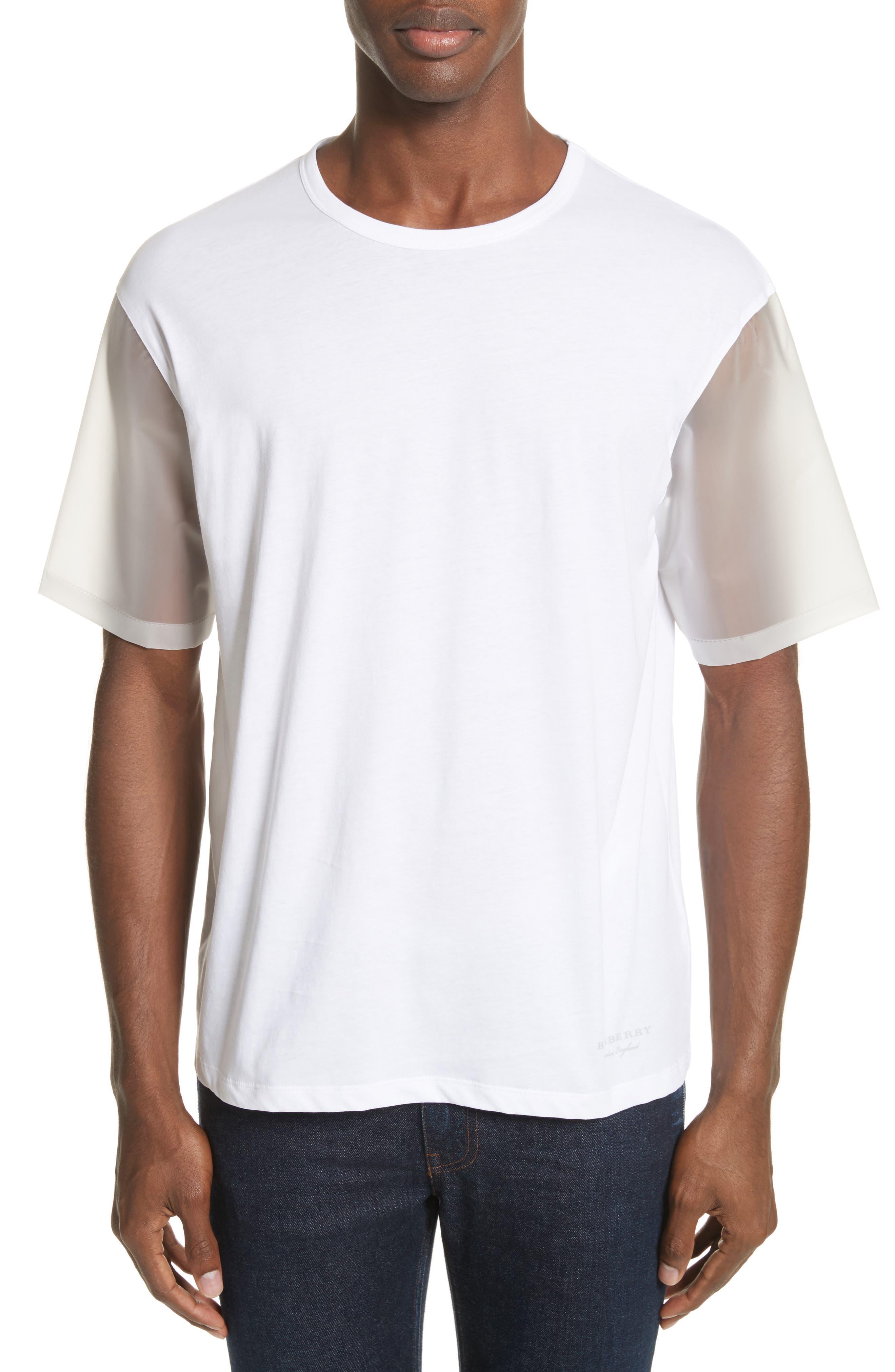 Plastic Sleeve T-Shirt,                         Main,                         color, White