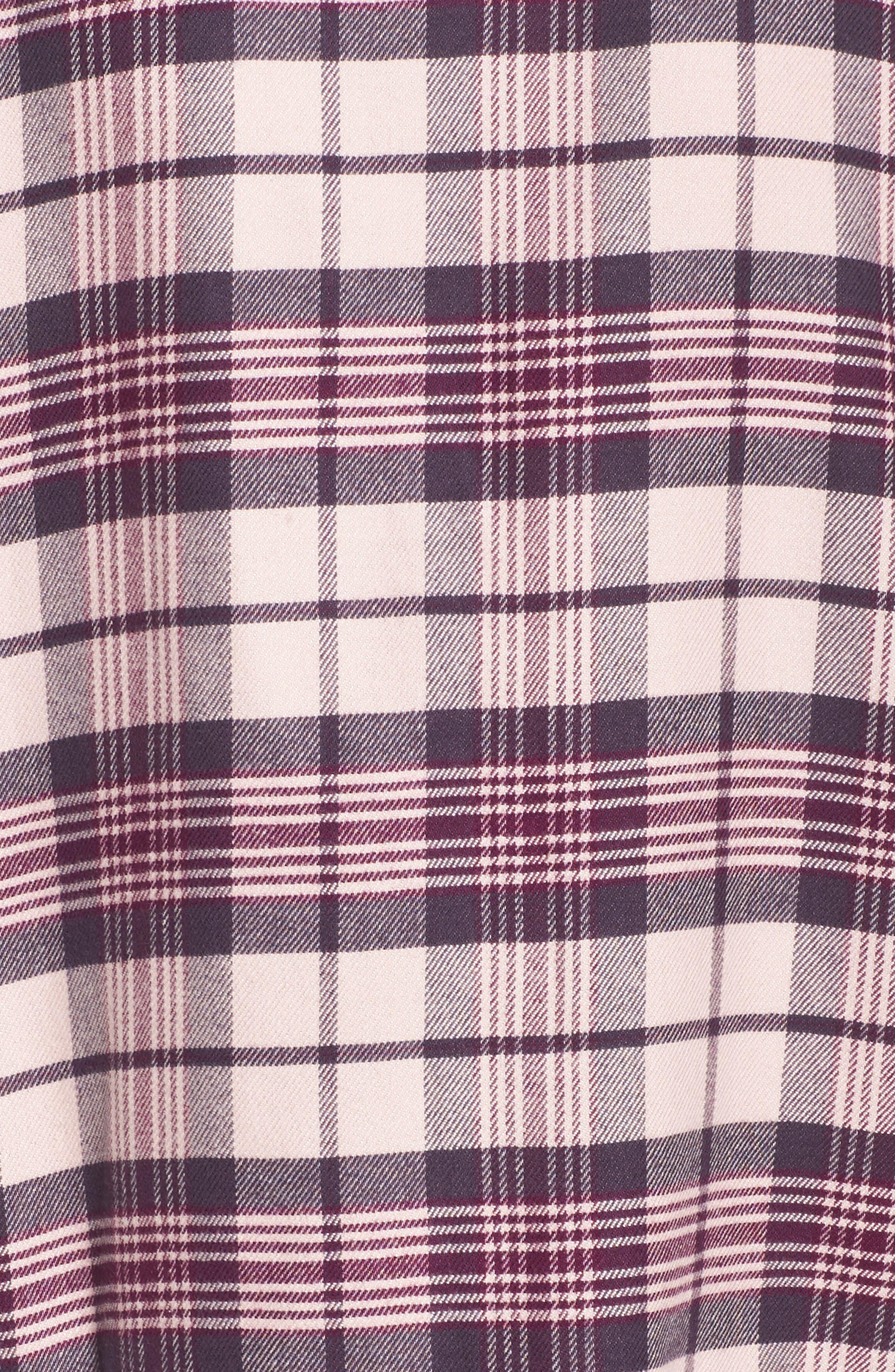 Lingerie Starlight Flannel Pajamas,                             Alternate thumbnail 5, color,                             Pink Peony Bud Tonal Tartan