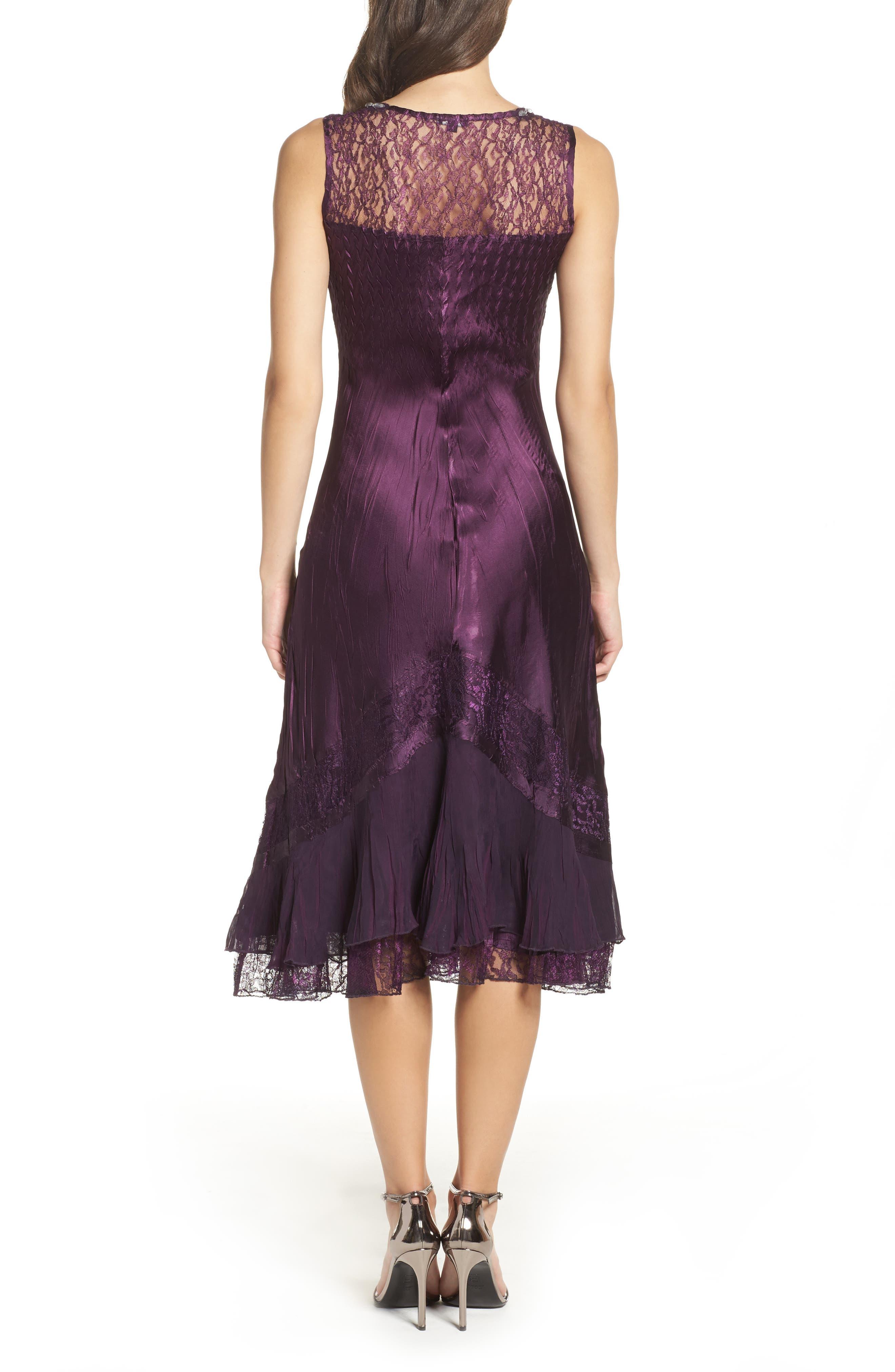Mixed Media A-Line Dress & Jacket,                             Alternate thumbnail 2, color,                             Aubergine Night Ombre