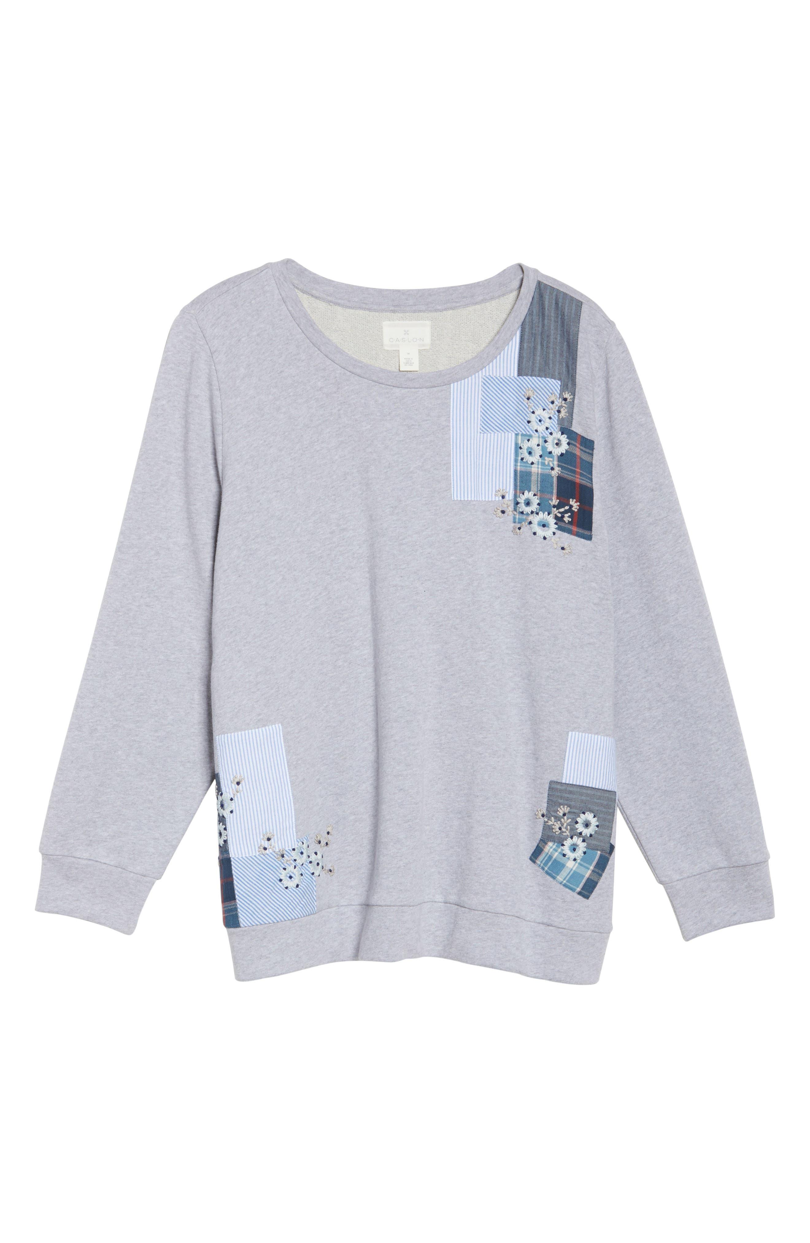 Patchwork Sweatshirt,                             Alternate thumbnail 6, color,                             Grey Floral