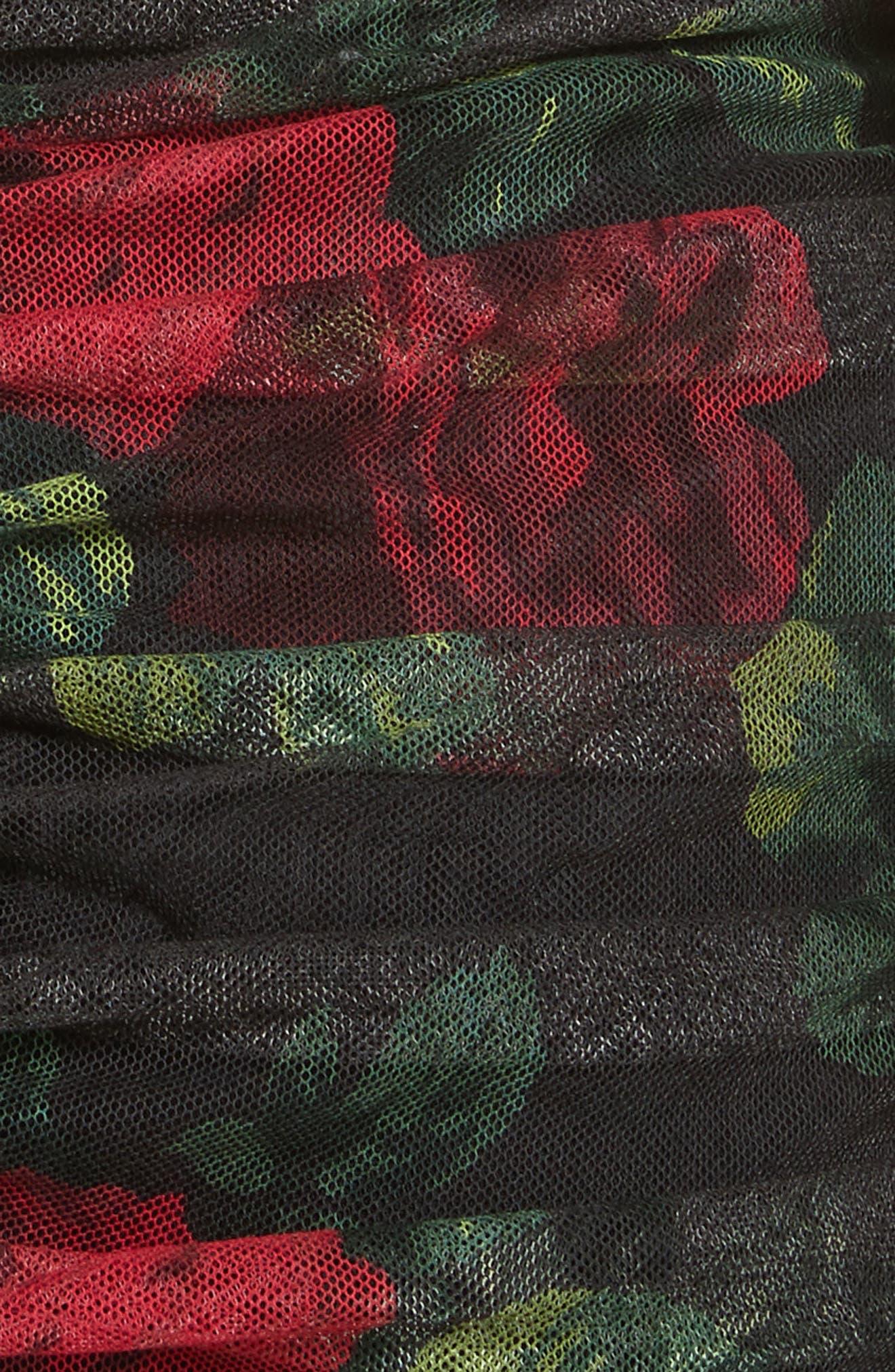 Rose Print Ruched Tulle Dress,                             Alternate thumbnail 6, color,                             Rose Print