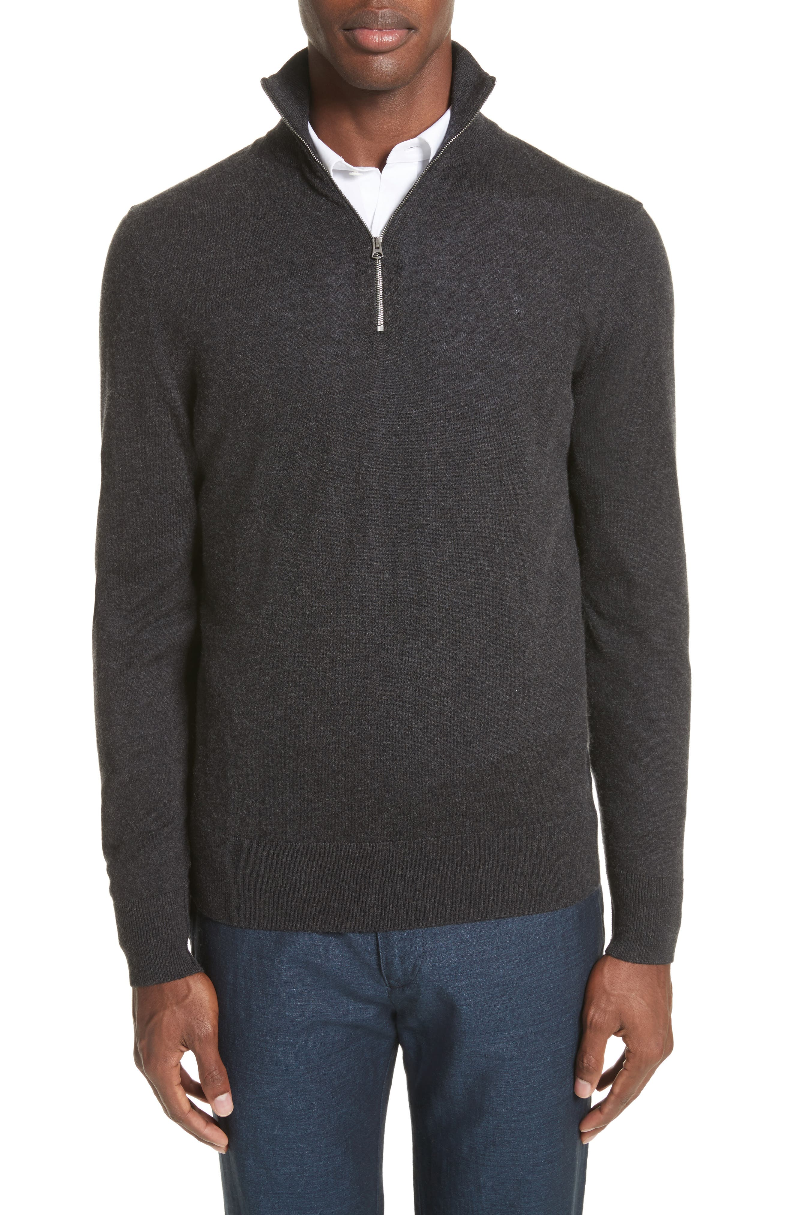 Burberry Rawlins Quarter Zip Cashmere Blend Sweater