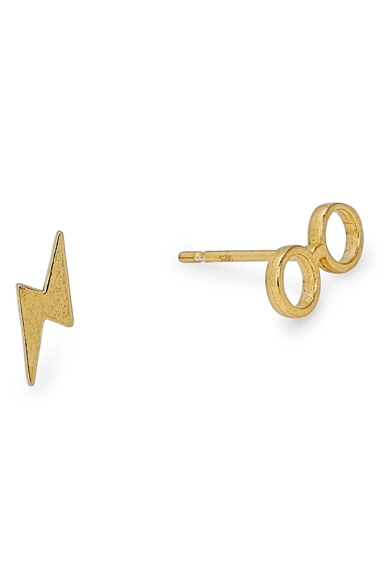 Harry Potter<sup>™</sup> Glasses & Bolt Stud Earrings,                             Main thumbnail 1, color,                             Gold