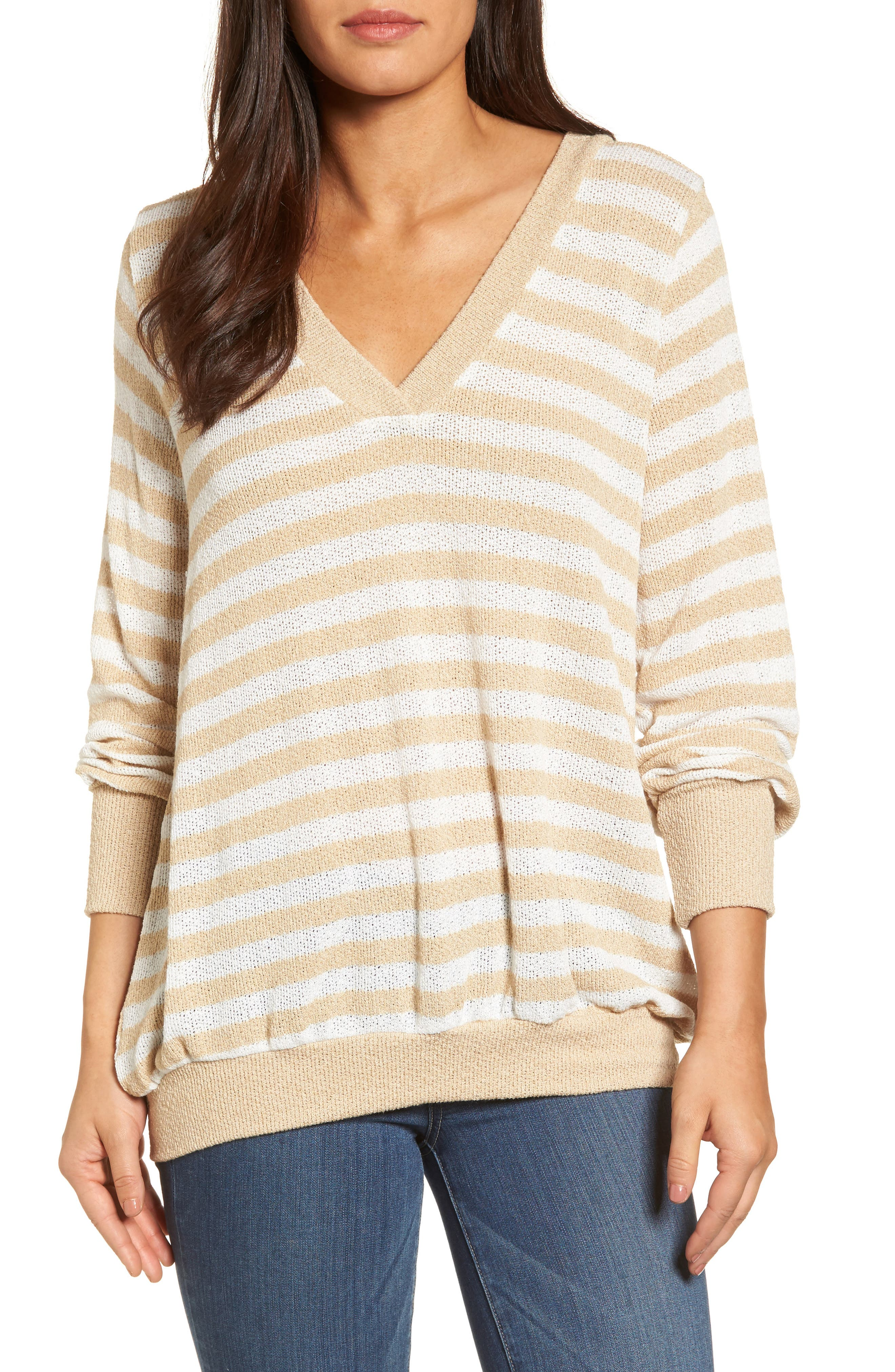Caslon® Double V-Neck Relaxed Pullover