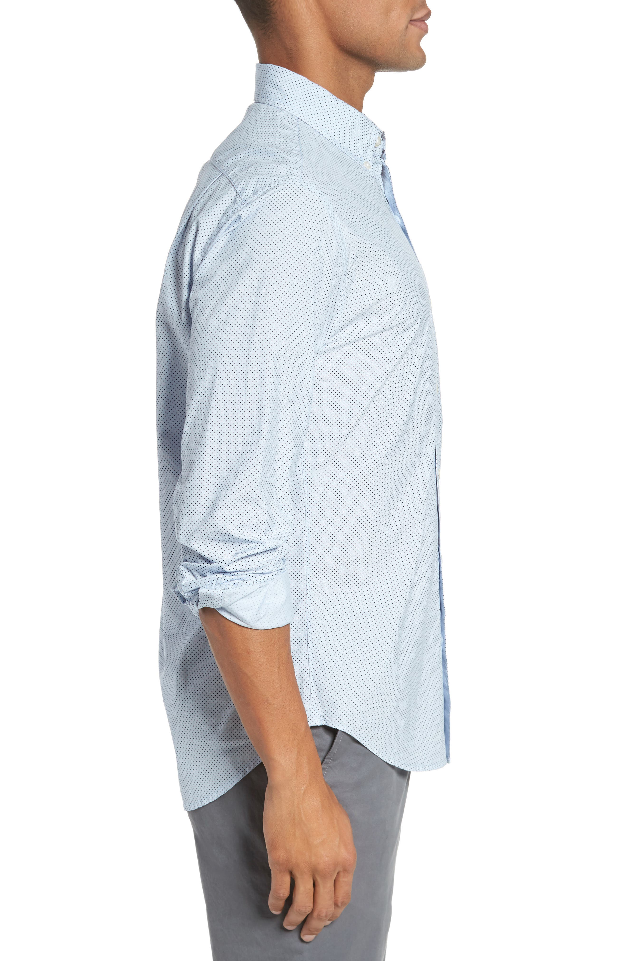 Slim Fit Dot Print Sport Shirt,                             Alternate thumbnail 3, color,                             Cannes Blue Fine Dots