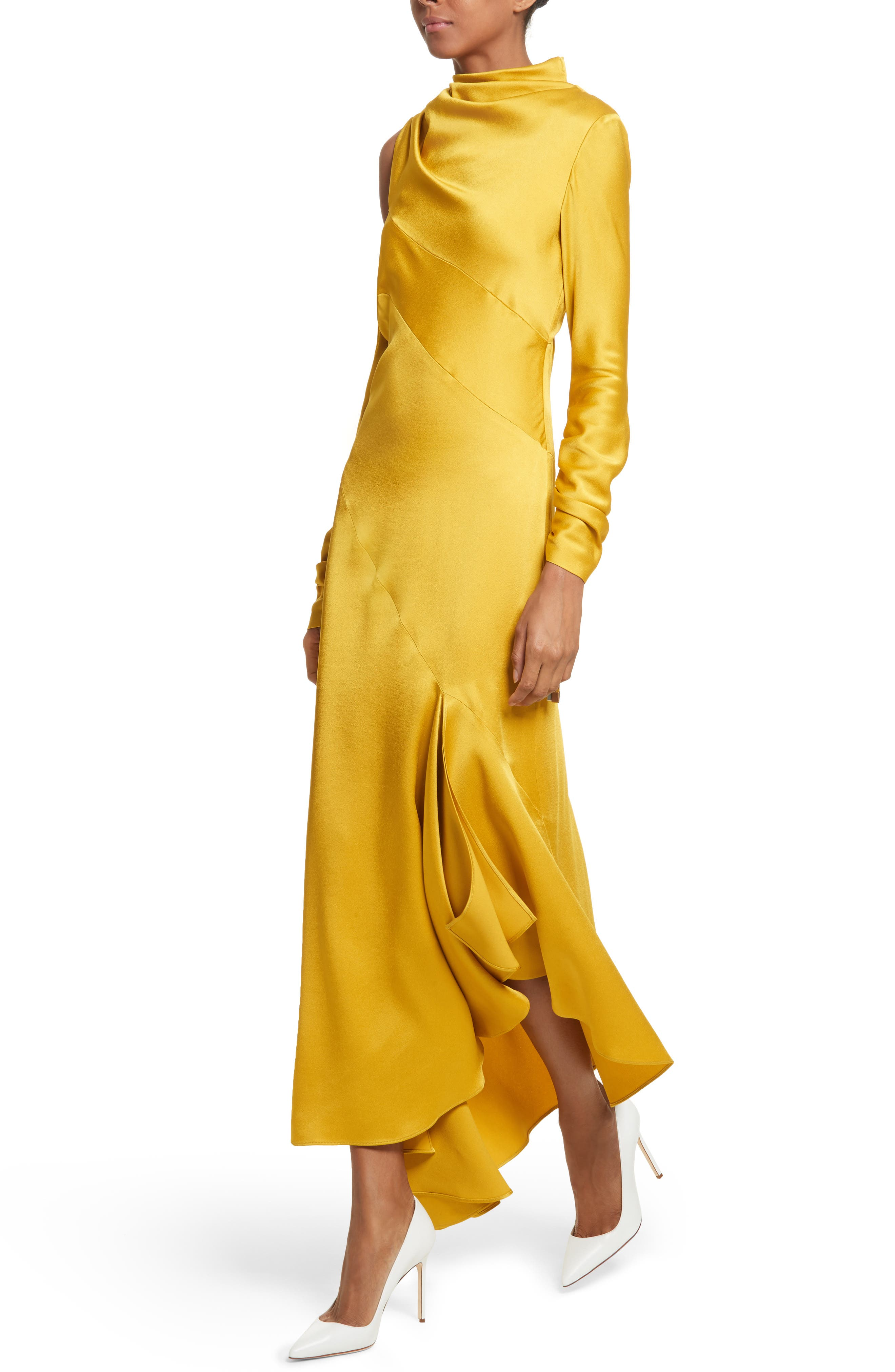 Crepe Back Satin Cold Shoulder Dress,                             Alternate thumbnail 4, color,                             Yellow