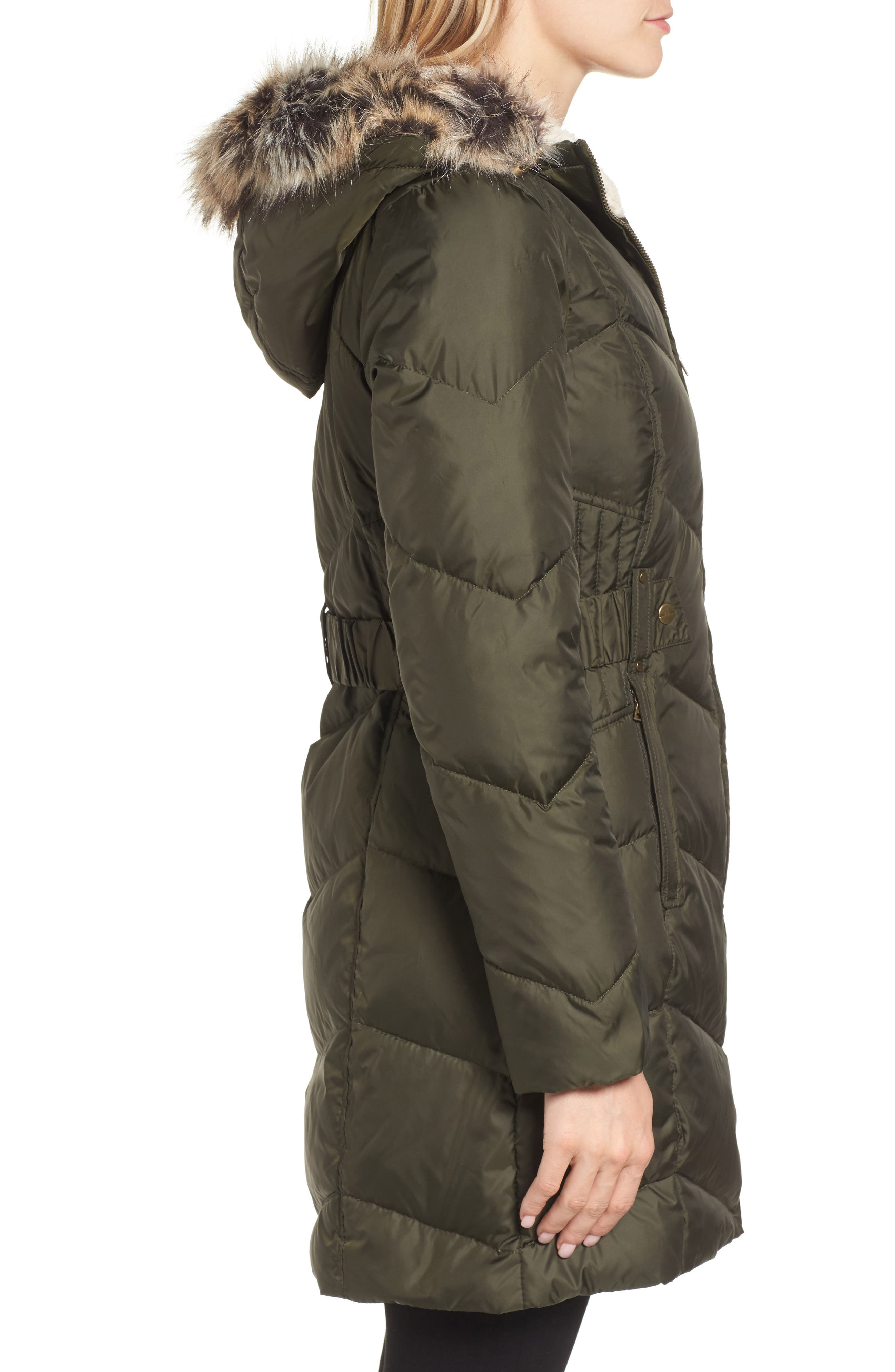 Hooded Down & Feather Fill Jacket with Faux Fur Trim,                             Alternate thumbnail 3, color,                             Loden