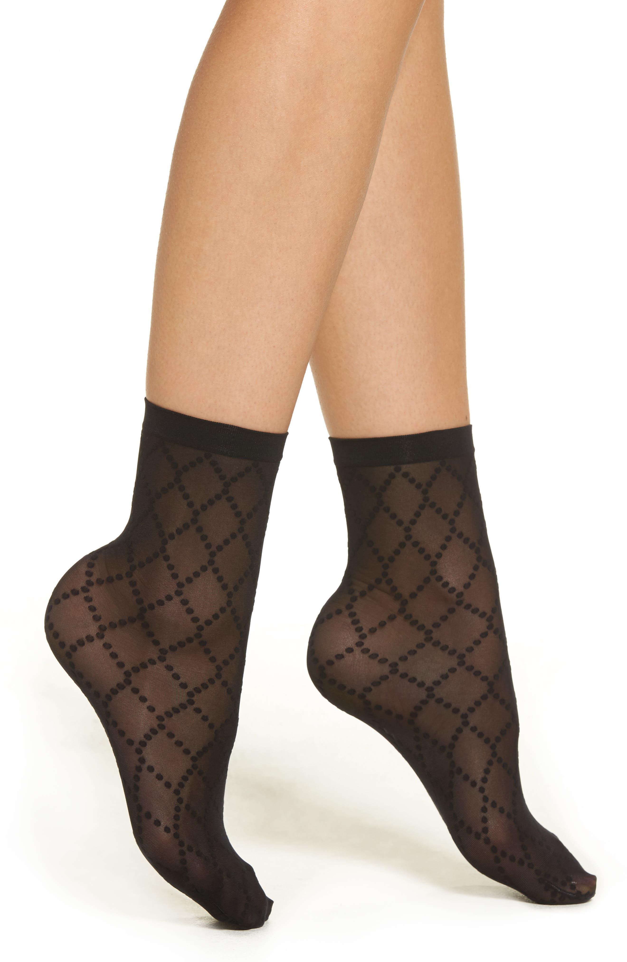 Dot Mesh Trouser Socks,                         Main,                         color, Black/ Black