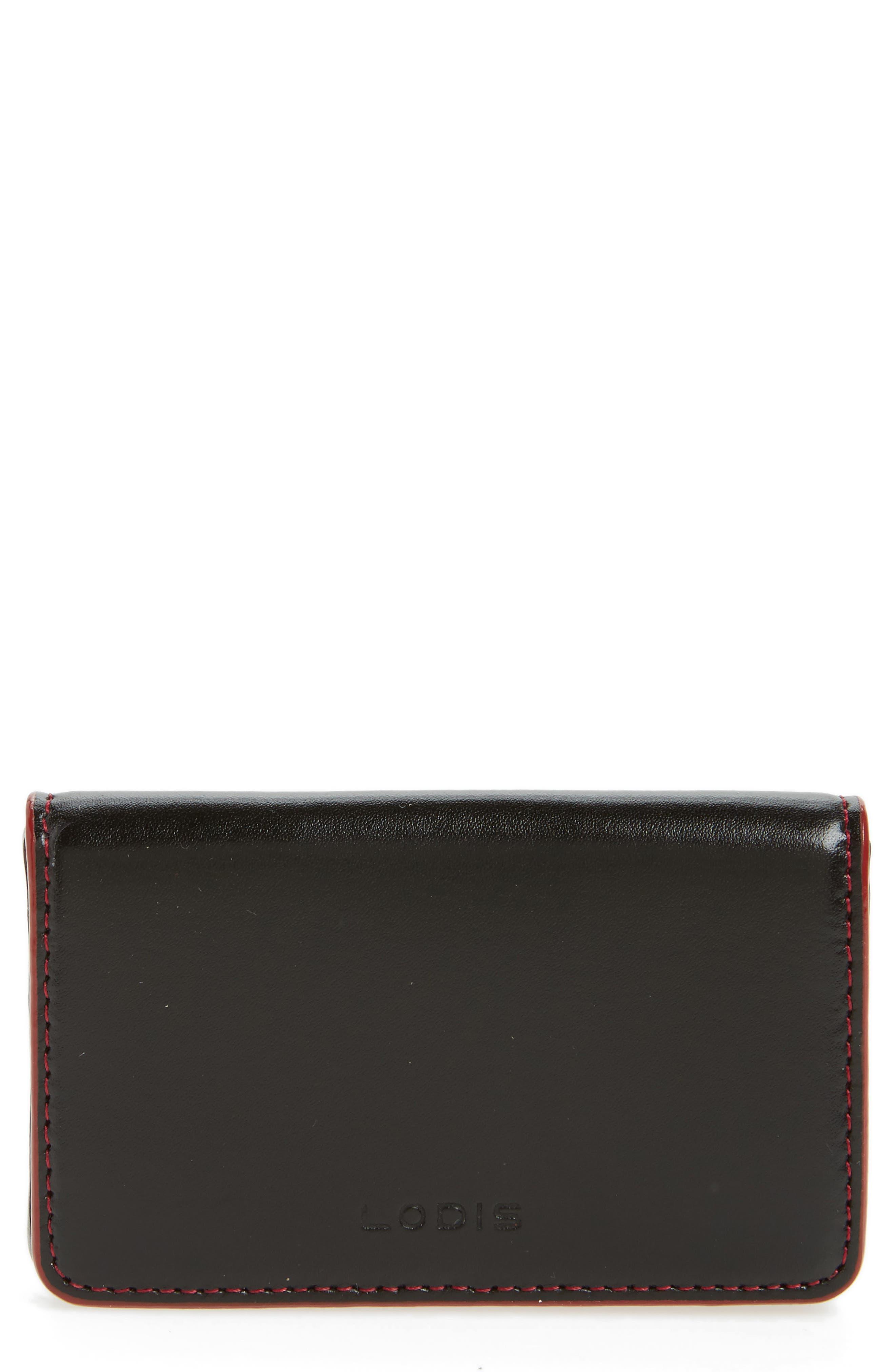 Lodis Audrey Under Lock & Key Leather Mini Card Case,                             Main thumbnail 1, color,                             Black