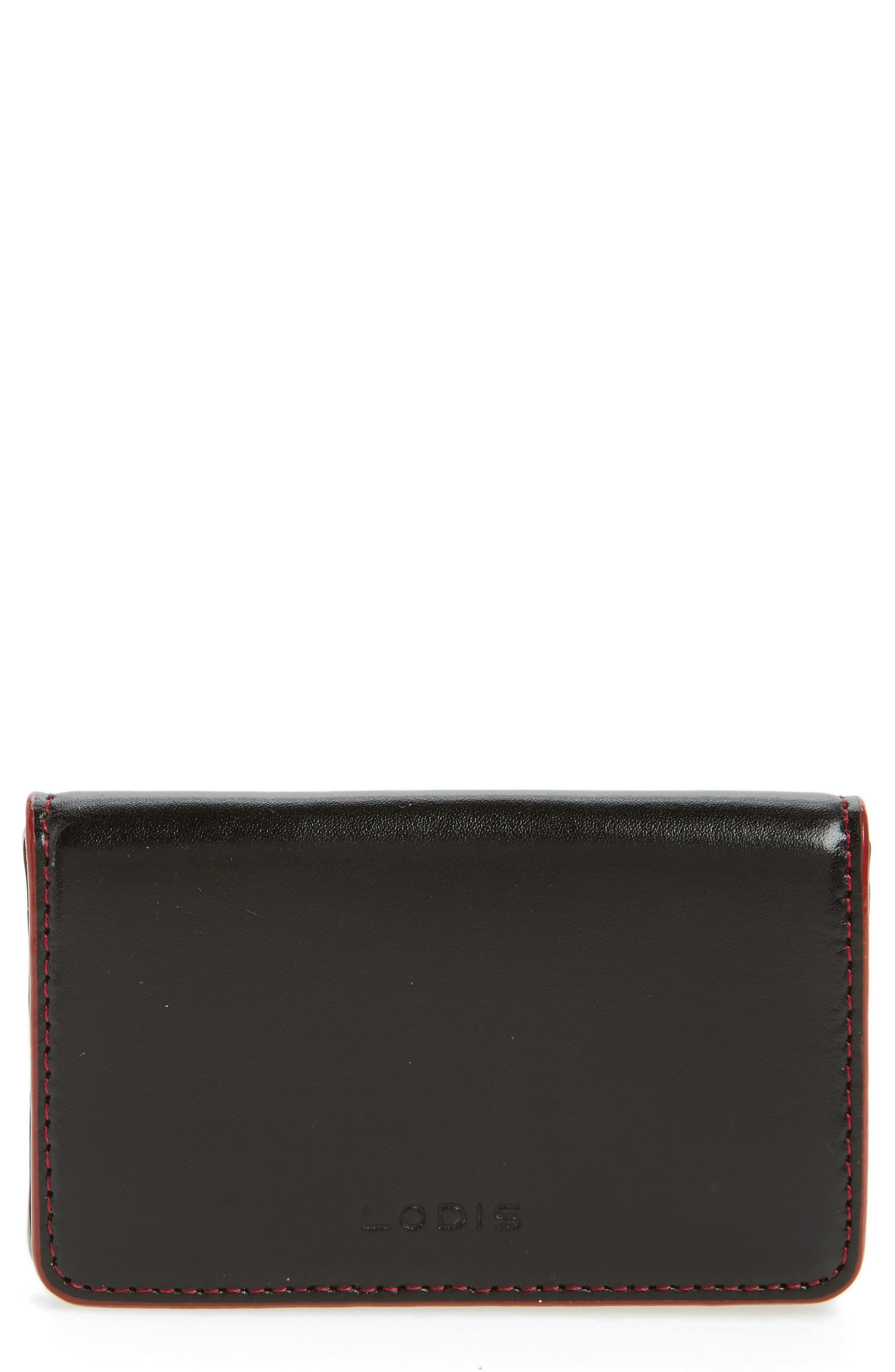 Lodis Audrey Under Lock & Key Leather Mini Card Case,                         Main,                         color, Black