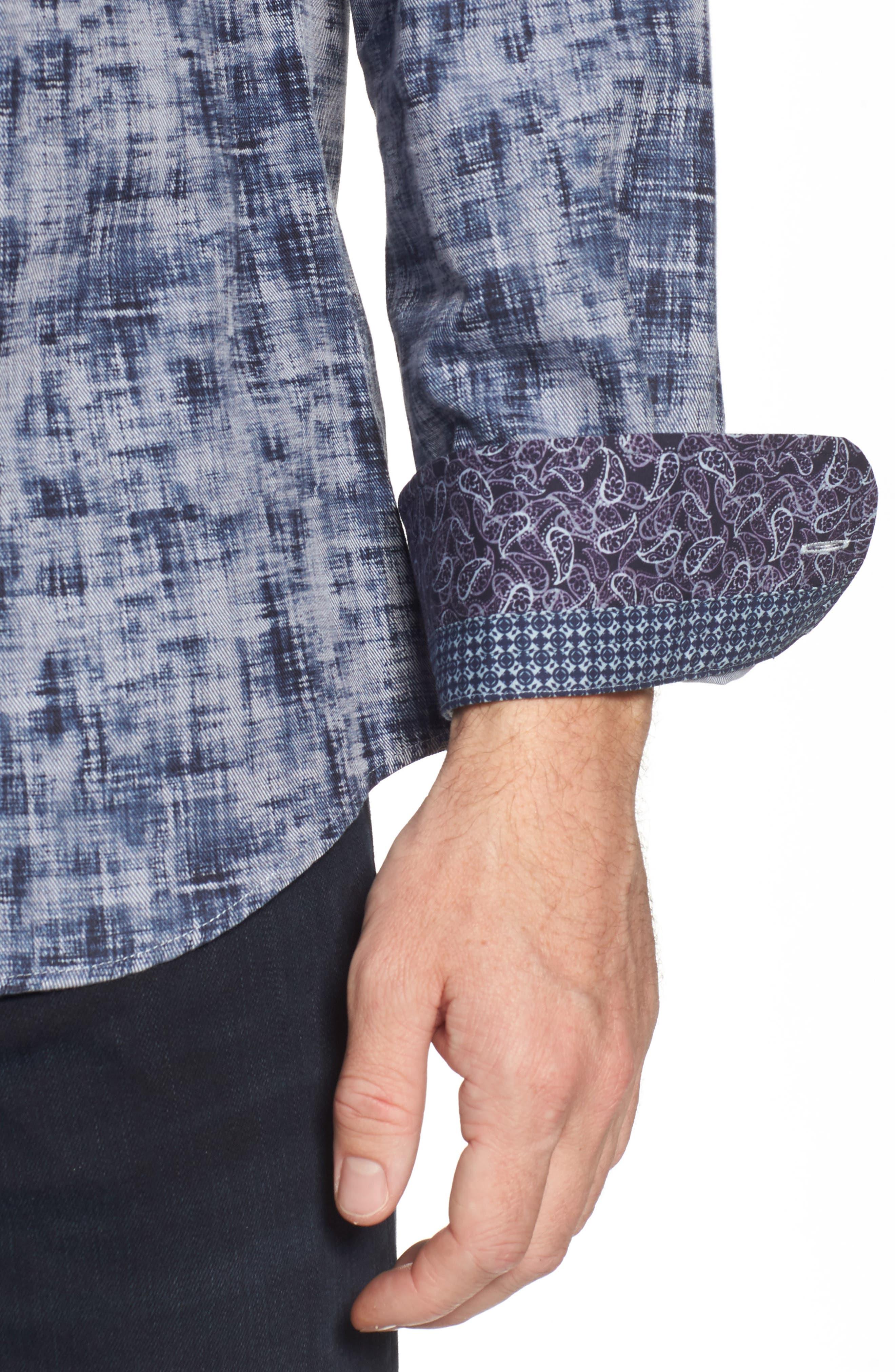 Alternate Image 4  - Stone Rose Slim Fit Twill FX Print Sport Shirt