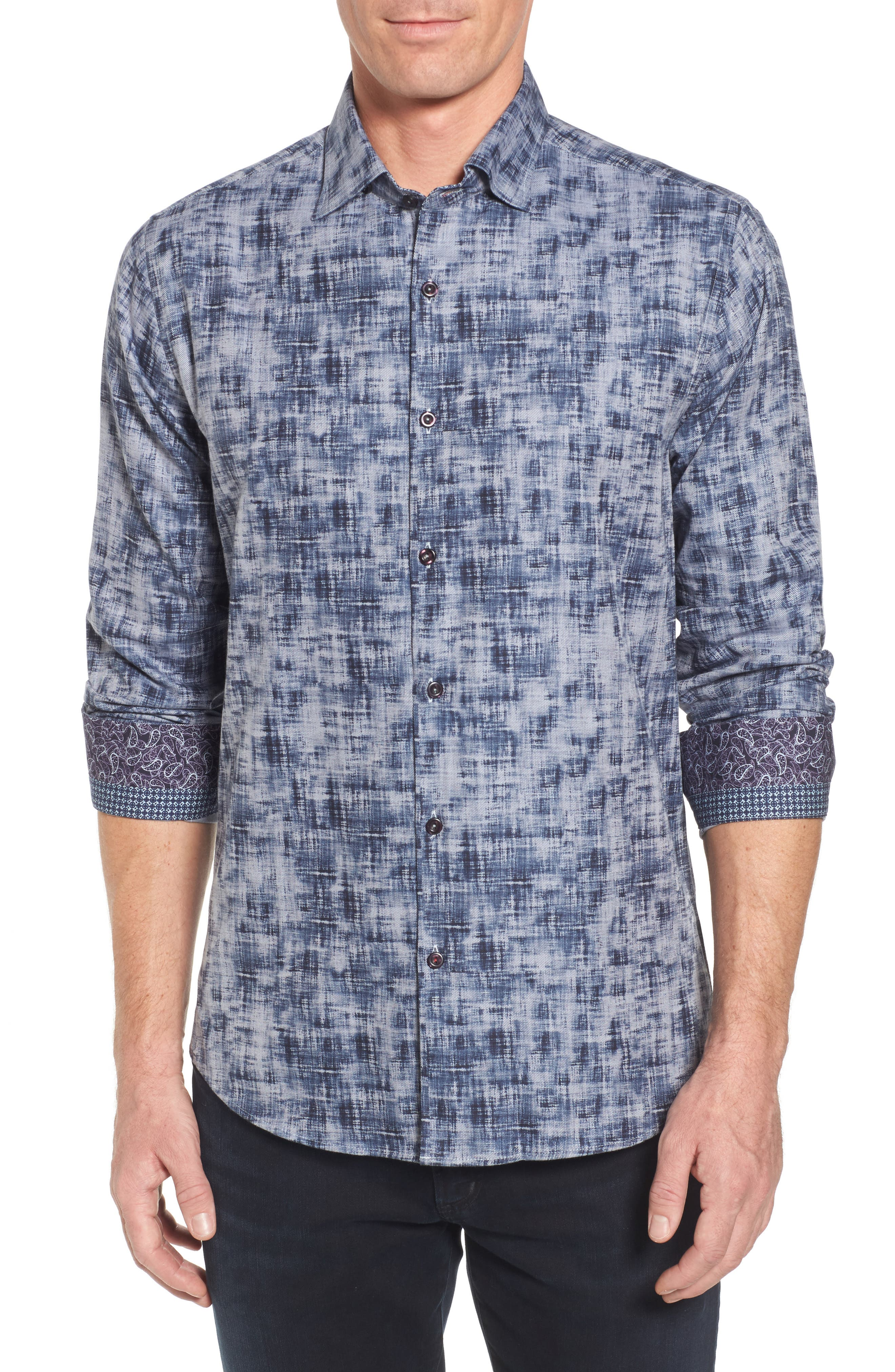 Main Image - Stone Rose Slim Fit Twill FX Print Sport Shirt