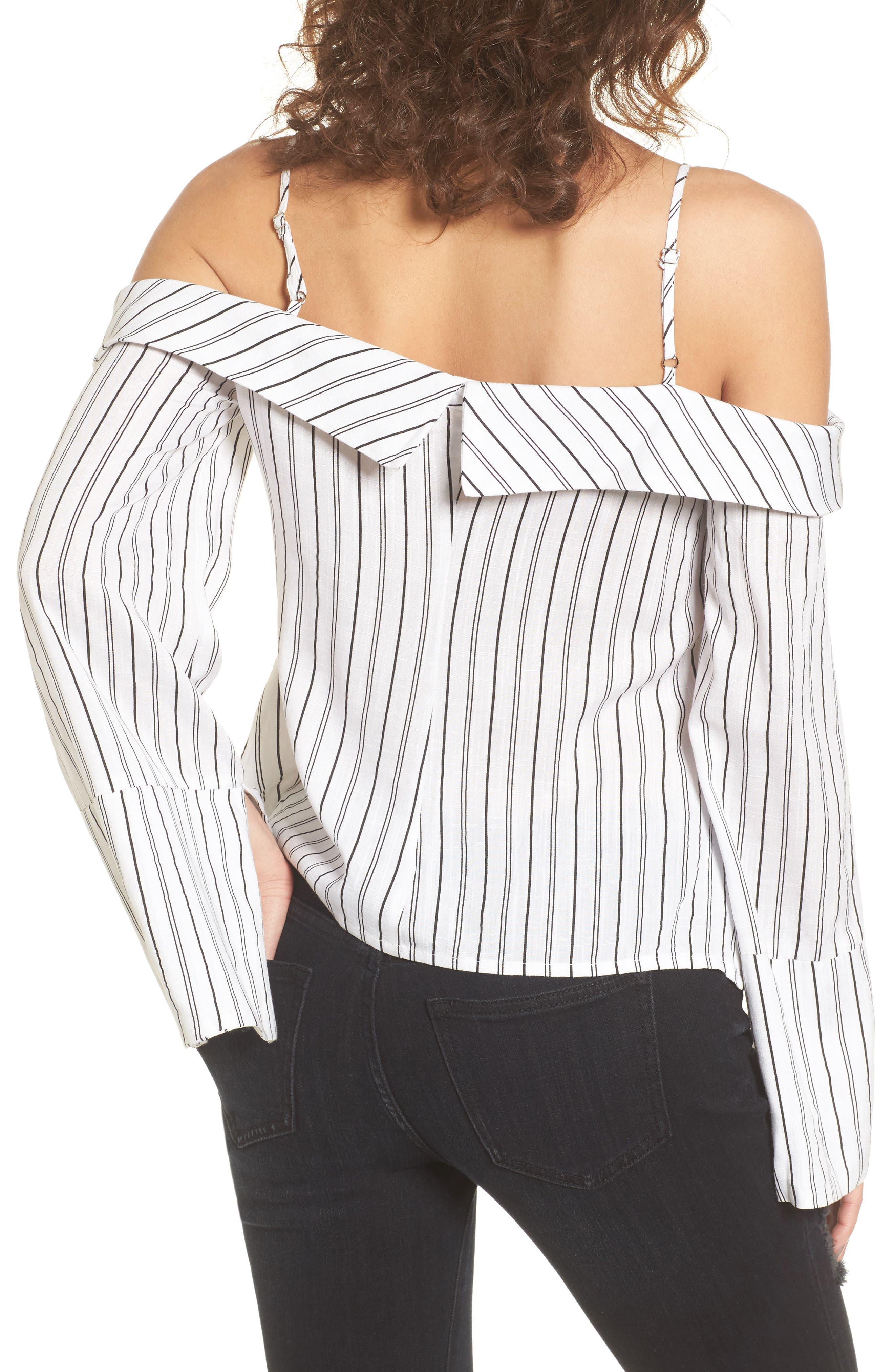 Alternate Image 2  - Stripe Tie Waist Off the Shoulder Shirt