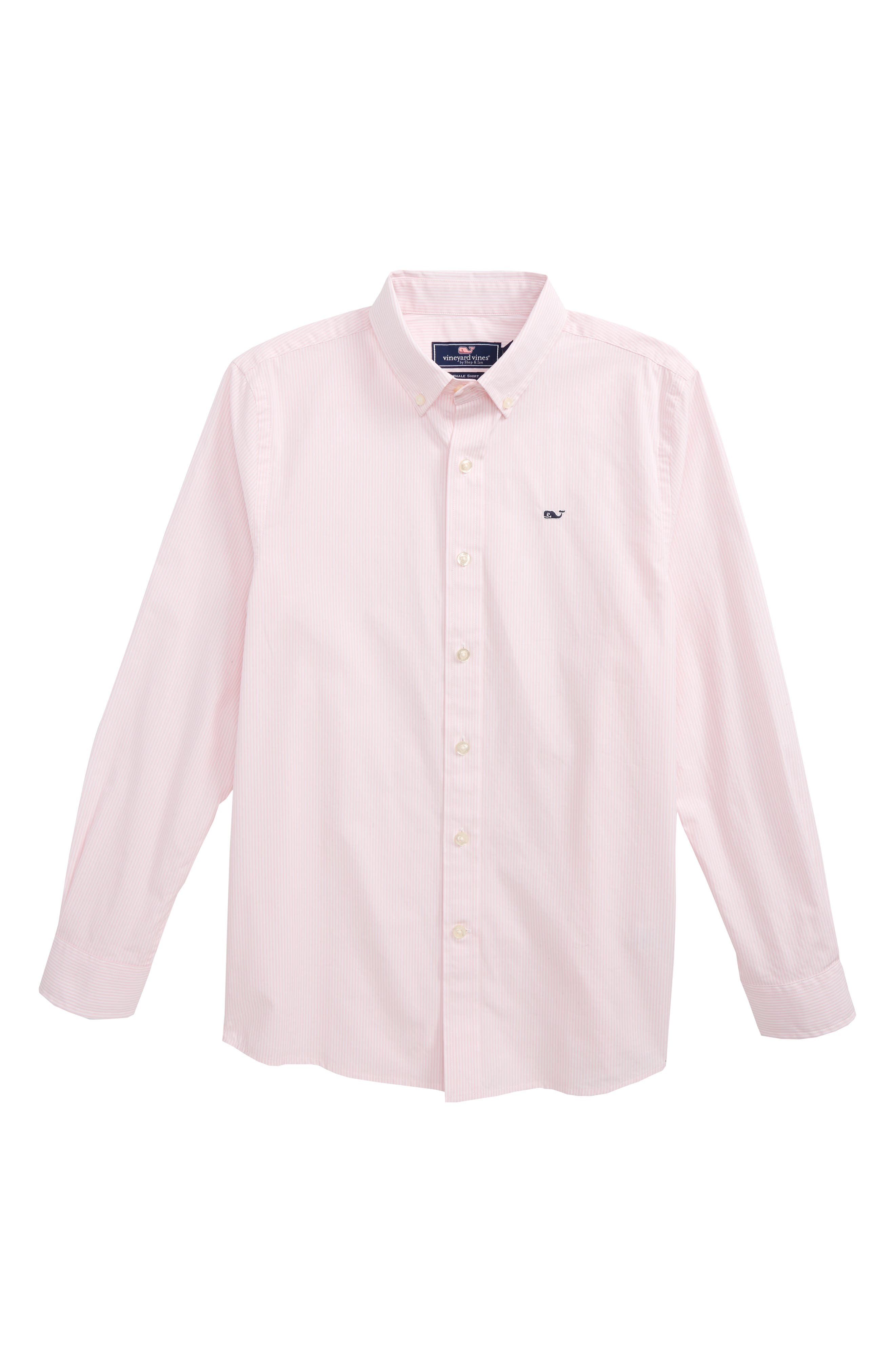 Fine Line Stripe - Whale Woven Shirt,                             Main thumbnail 1, color,                             Flamingo