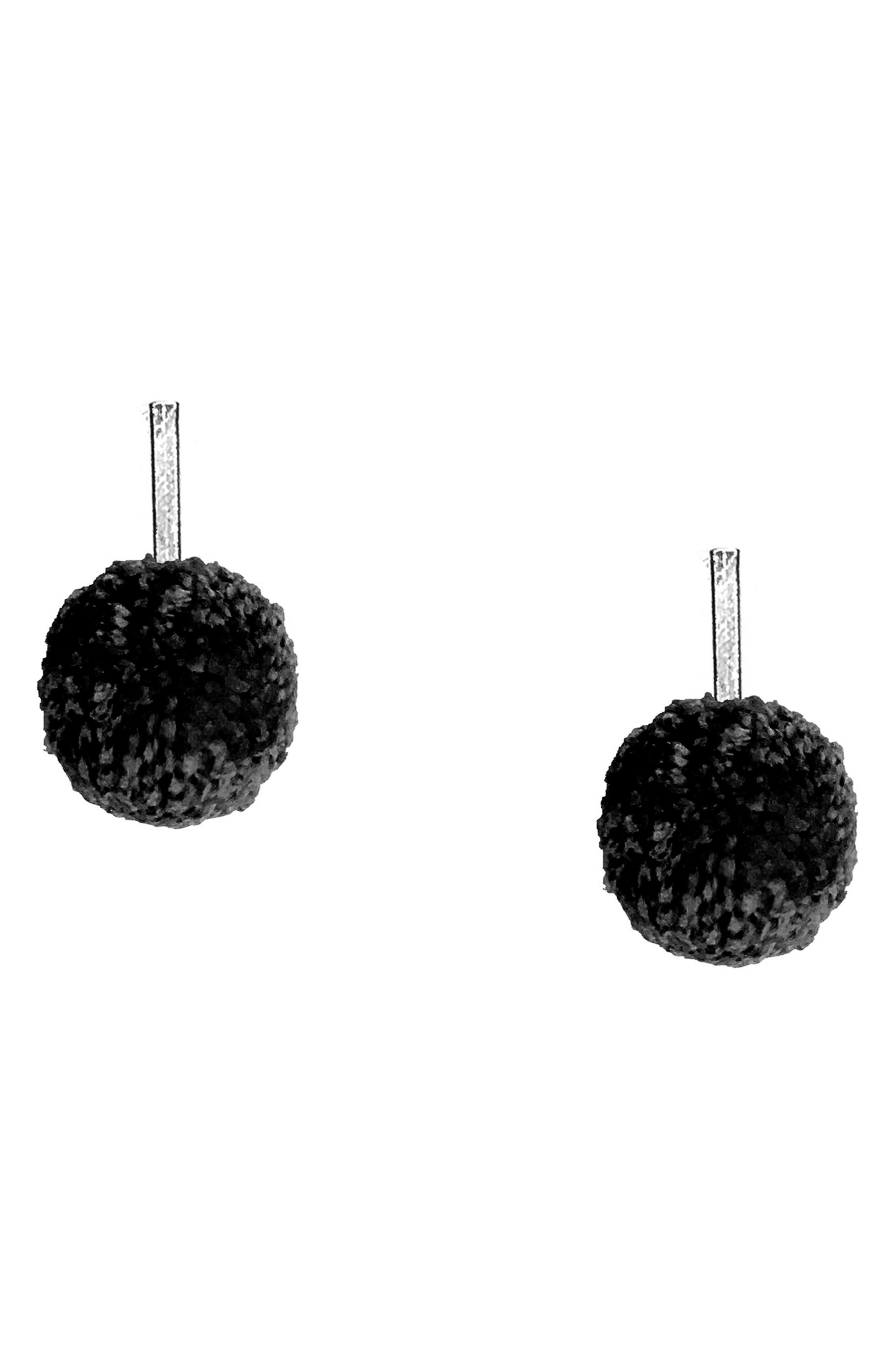 Yarn Pompom Stud Earrings,                             Main thumbnail 1, color,                             Silver/ Black