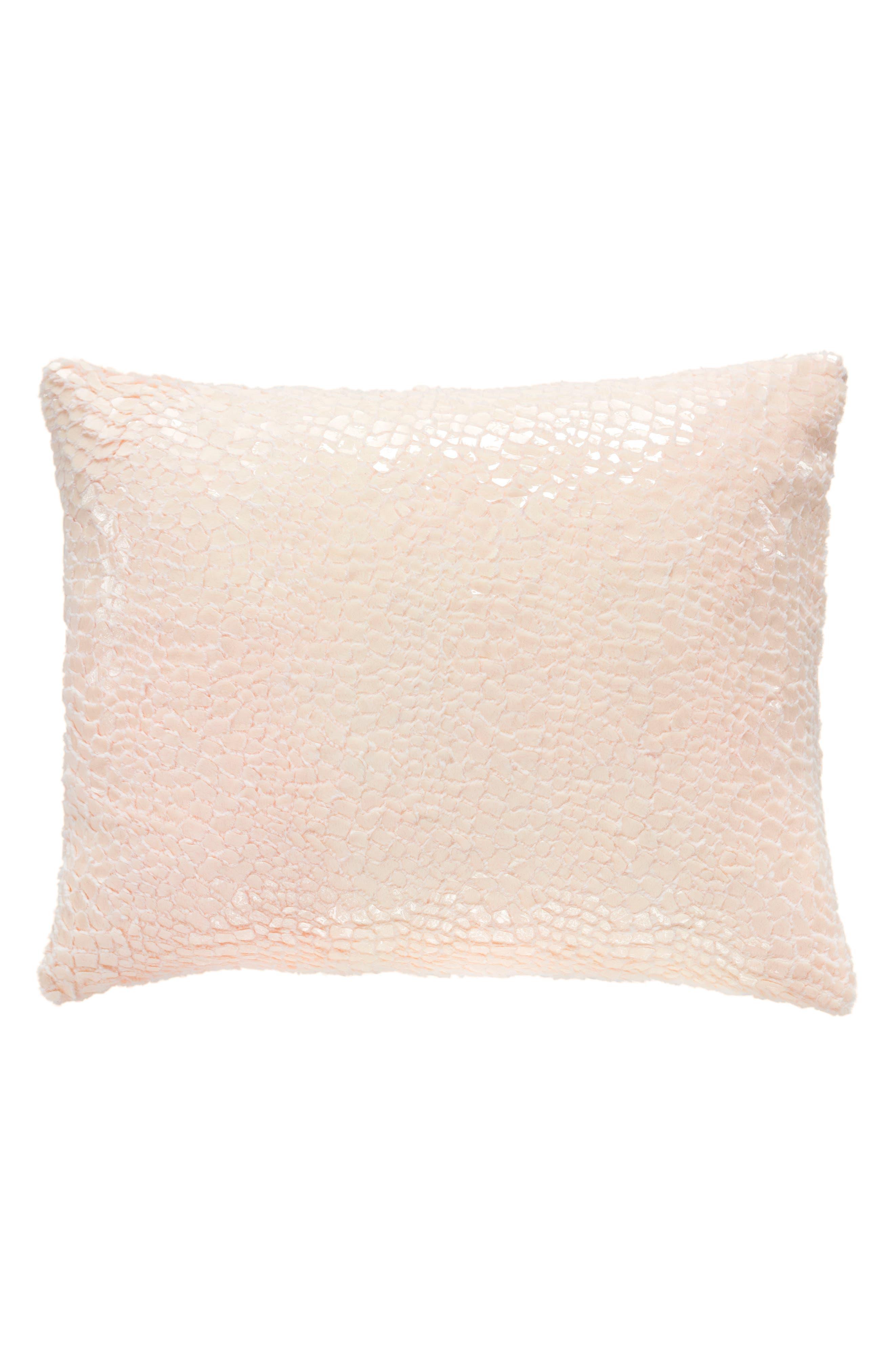 Gloss Velvet Pillow,                             Main thumbnail 1, color,                             Pink