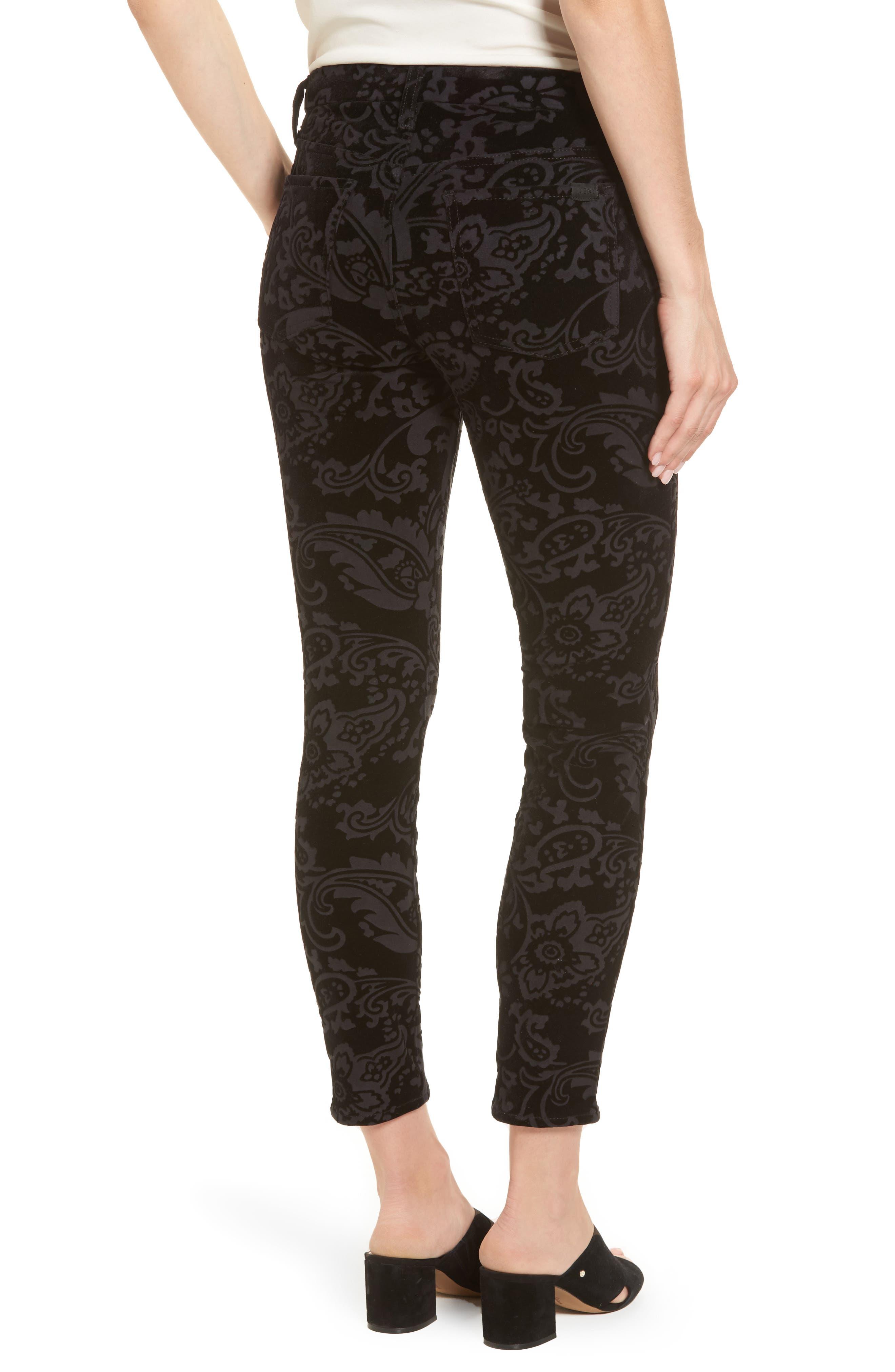 Paisley Velvet Ankle Skinny Jeans,                             Alternate thumbnail 2, color,                             Black