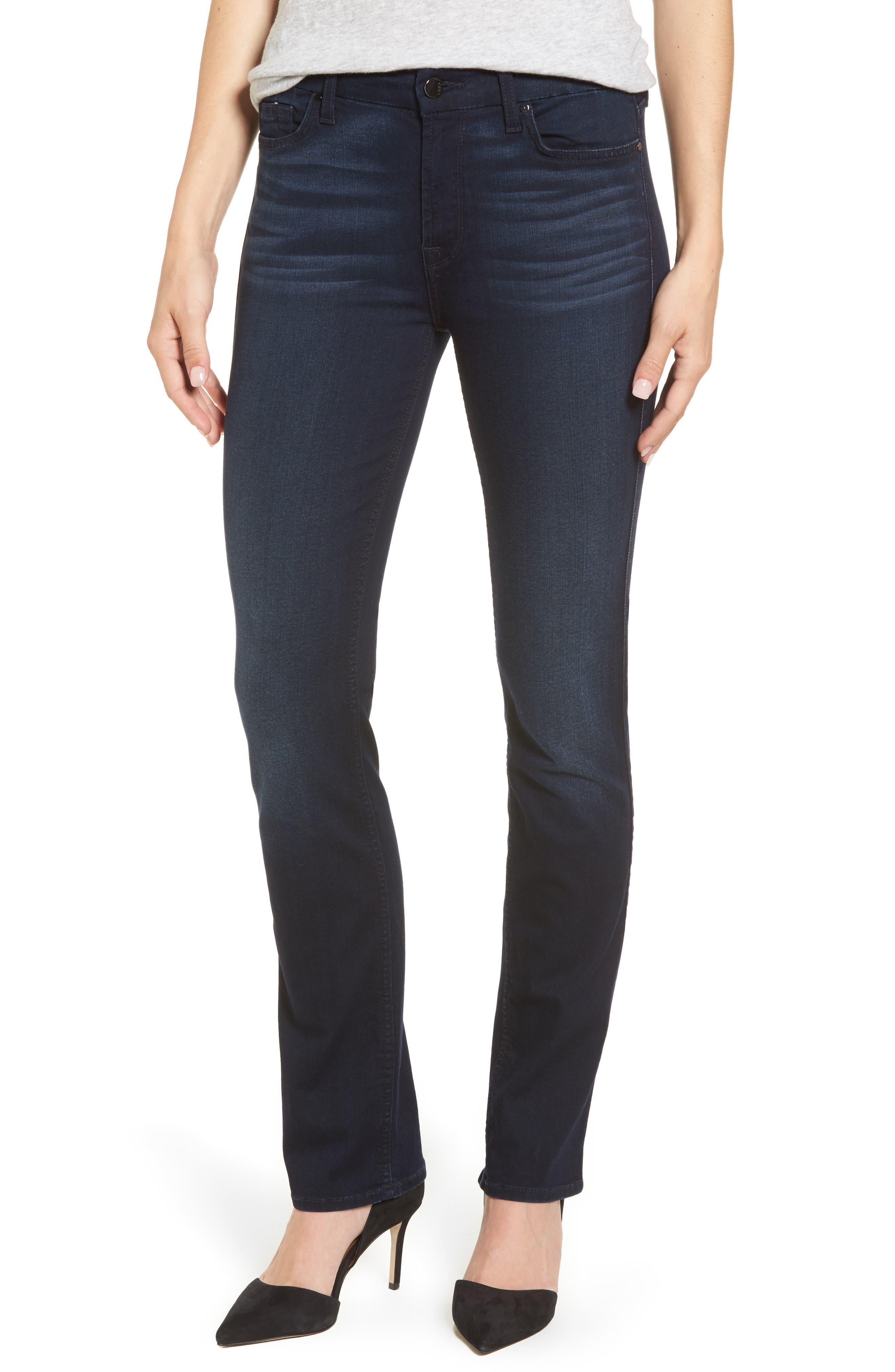 Slim Straight Jeans,                             Main thumbnail 1, color,                             Riche Touch Blue/ Black