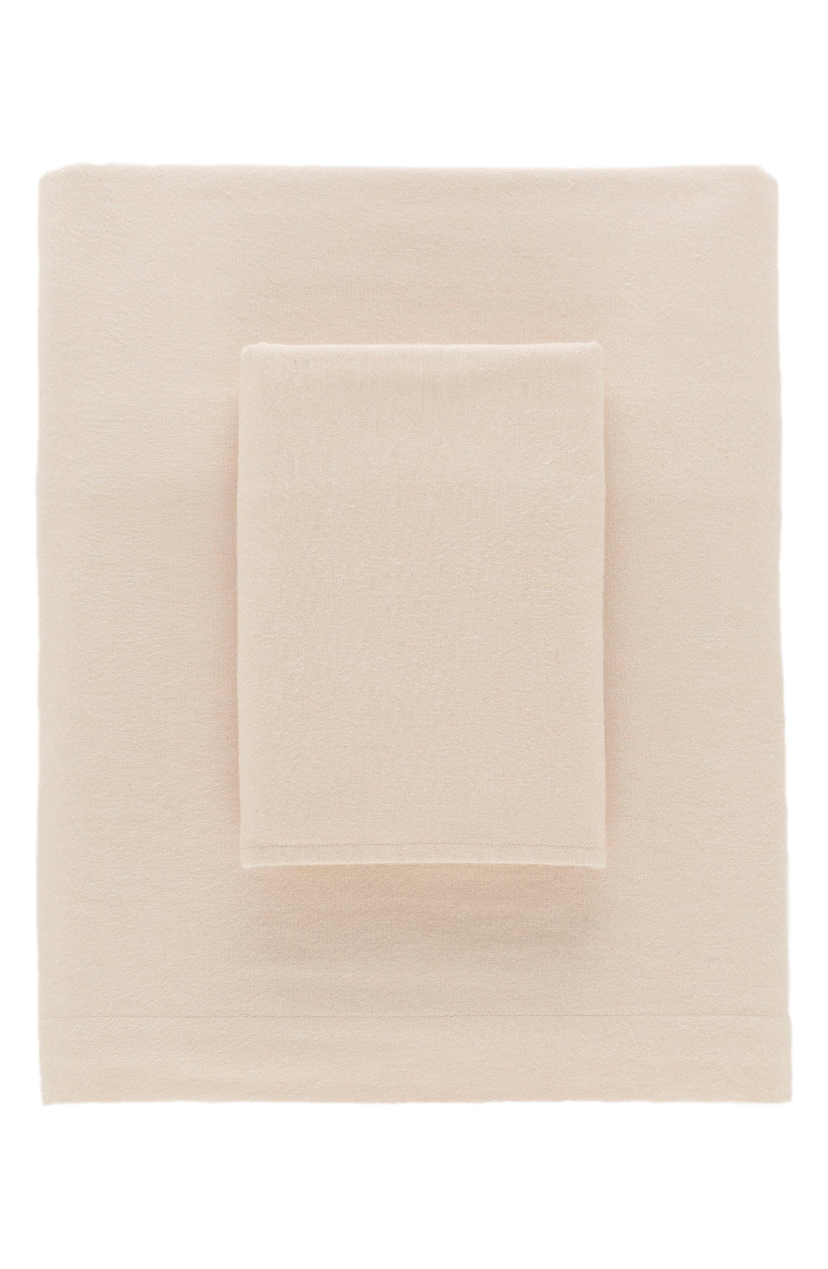 Chambray Flannel Sheet Set,                             Main thumbnail 1, color,                             Oatmeal