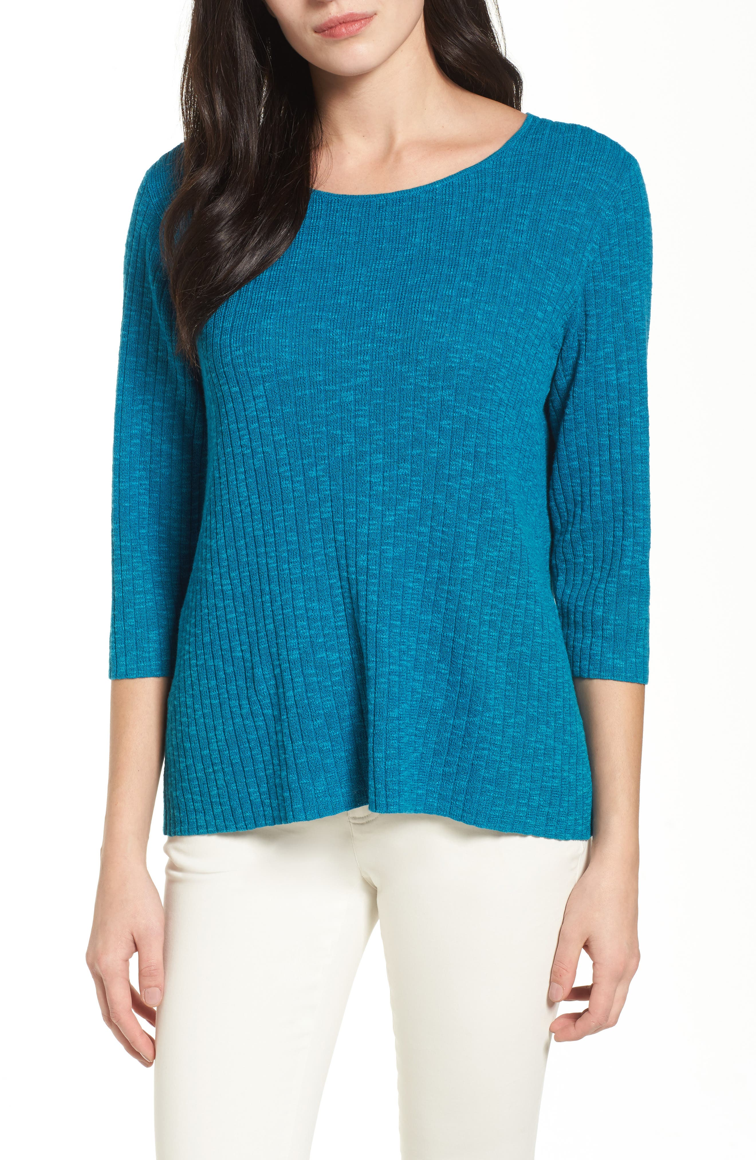 Alternate Image 1 Selected - Eileen Fisher Ribbed Organic Linen & Cotton Sweater