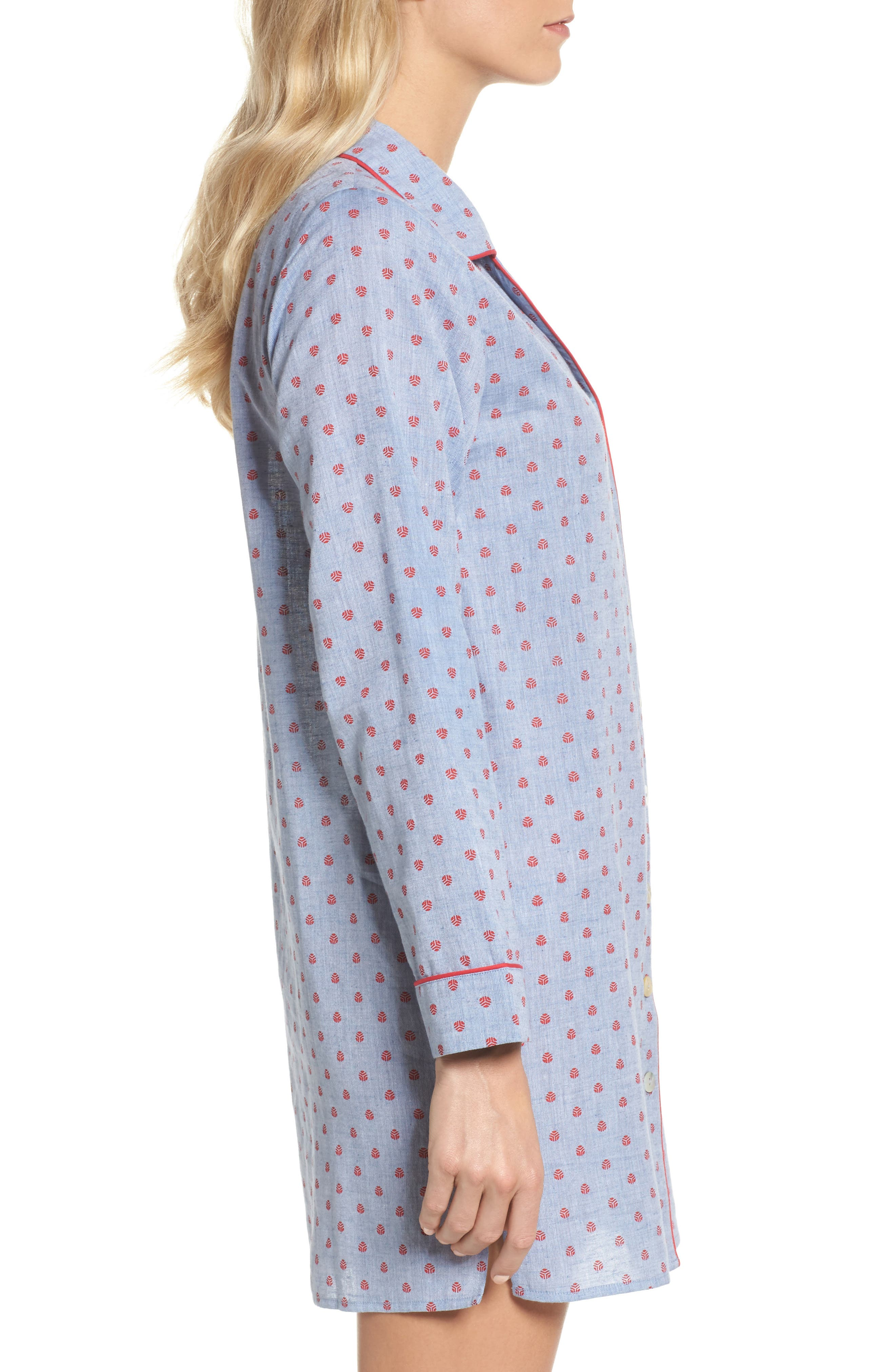 Alternate Image 3  - Loungerie Print Washed Cotton Sleep Shirt
