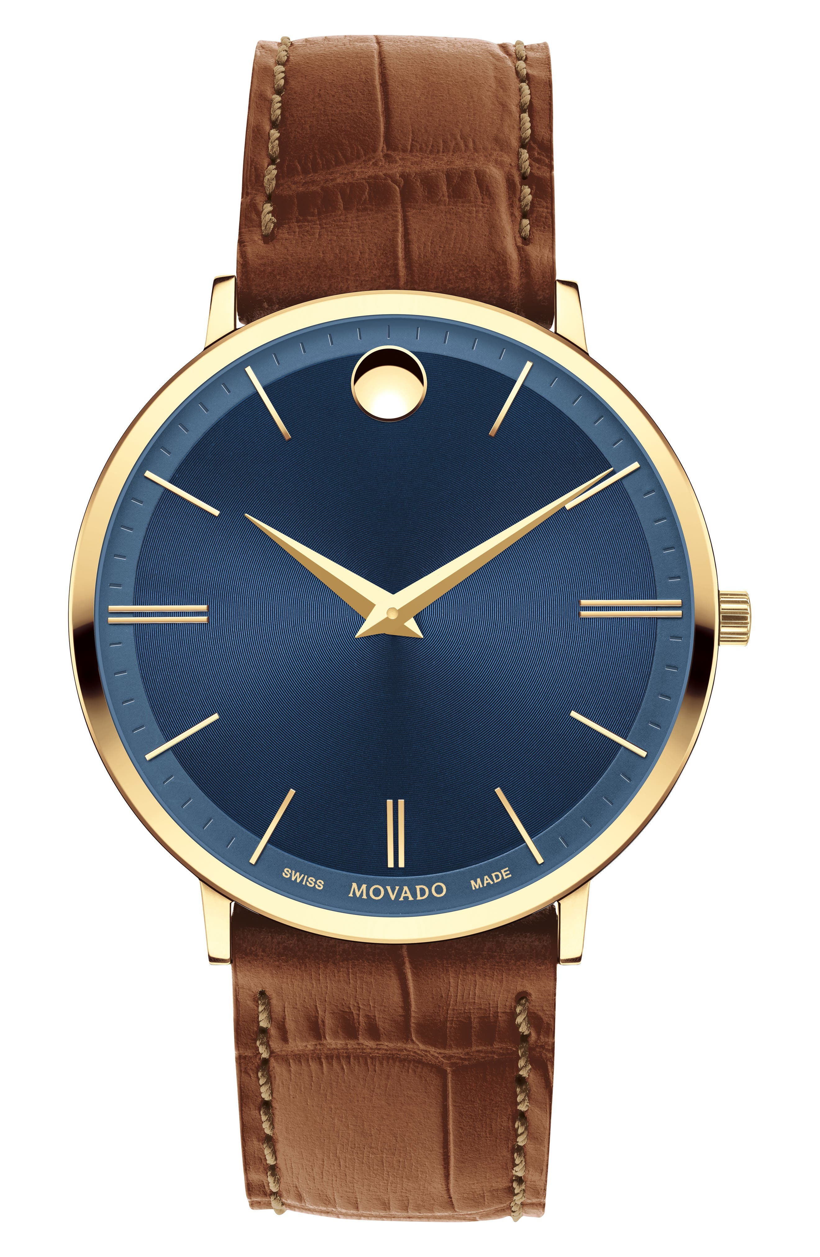 Movado Ultra Slim Leather Strap Watch, 40mm