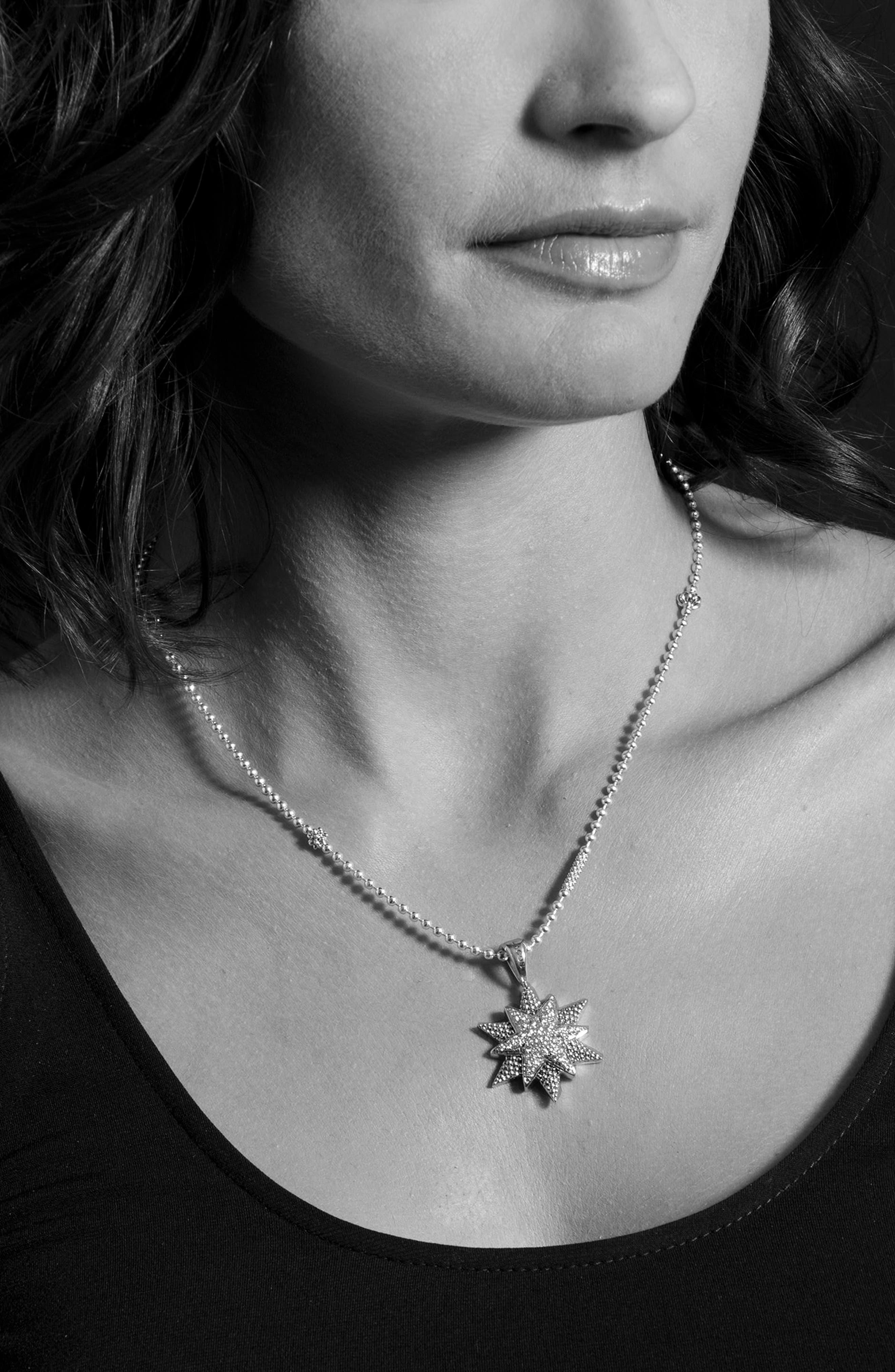 North Star Large Diamond Pendant Necklace,                             Alternate thumbnail 2, color,                             Diamond