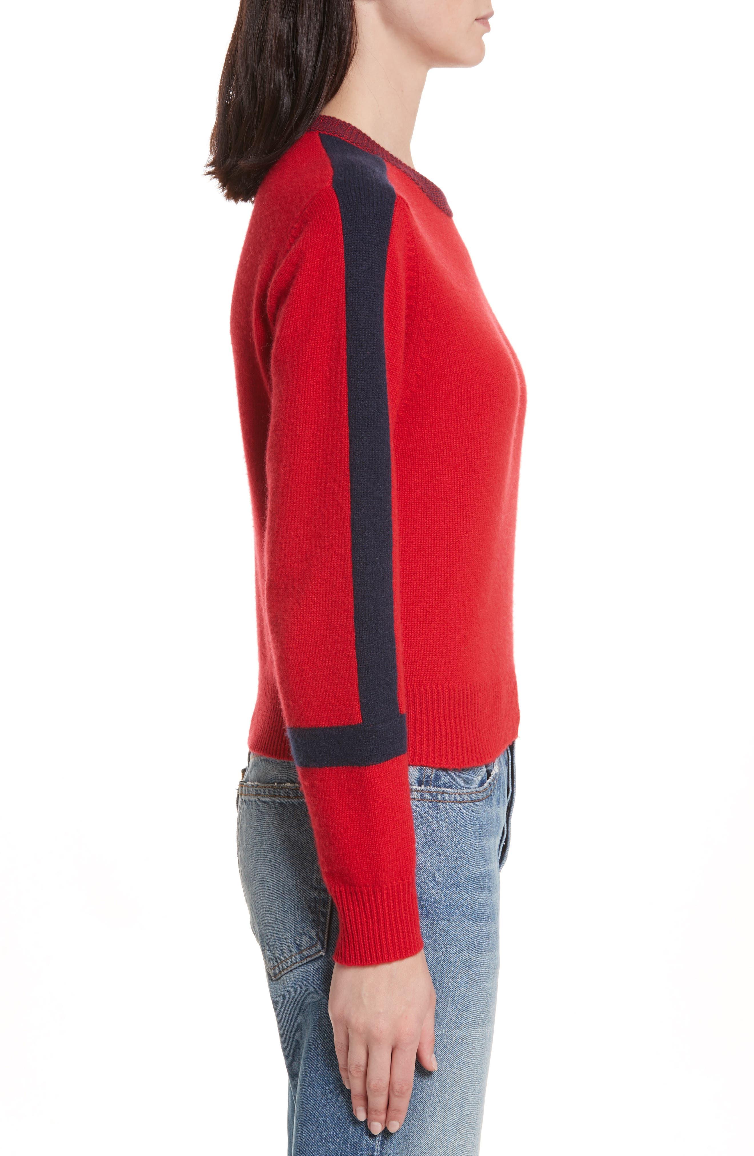 Alternate Image 3  - Allude Bold Stripe Cashmere Sweater