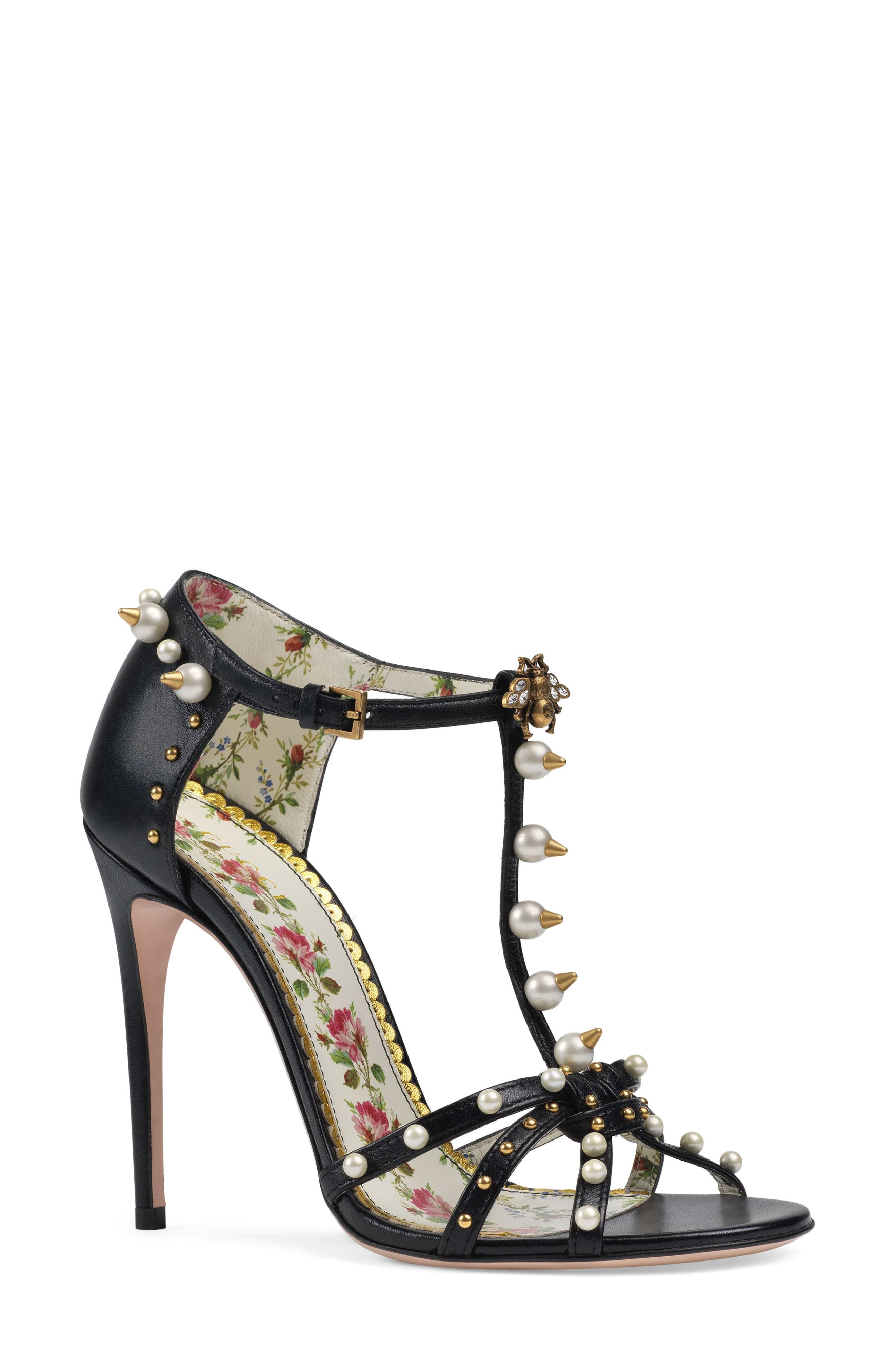 Alternate Image 1 Selected - Gucci Regina Embellished T-Strap Sandal (Women)