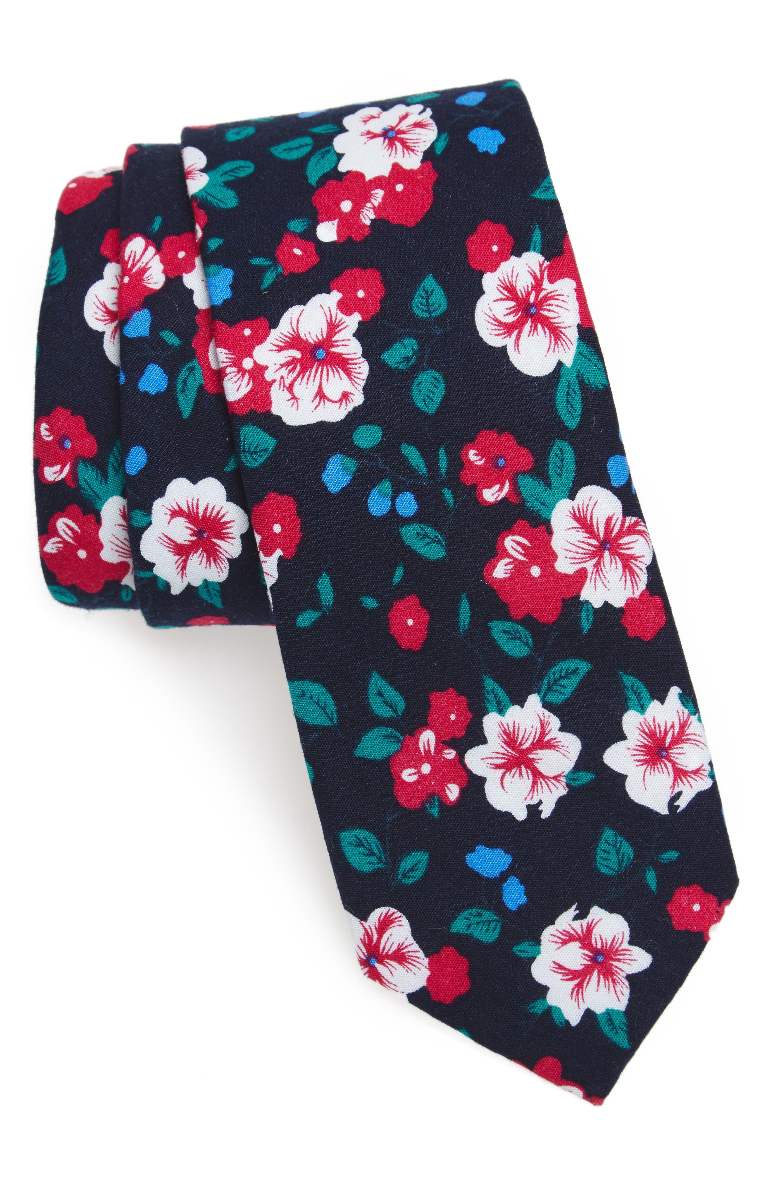 Haruby Floral Print Cotton Skinny Tie,                         Main,                         color, Navy