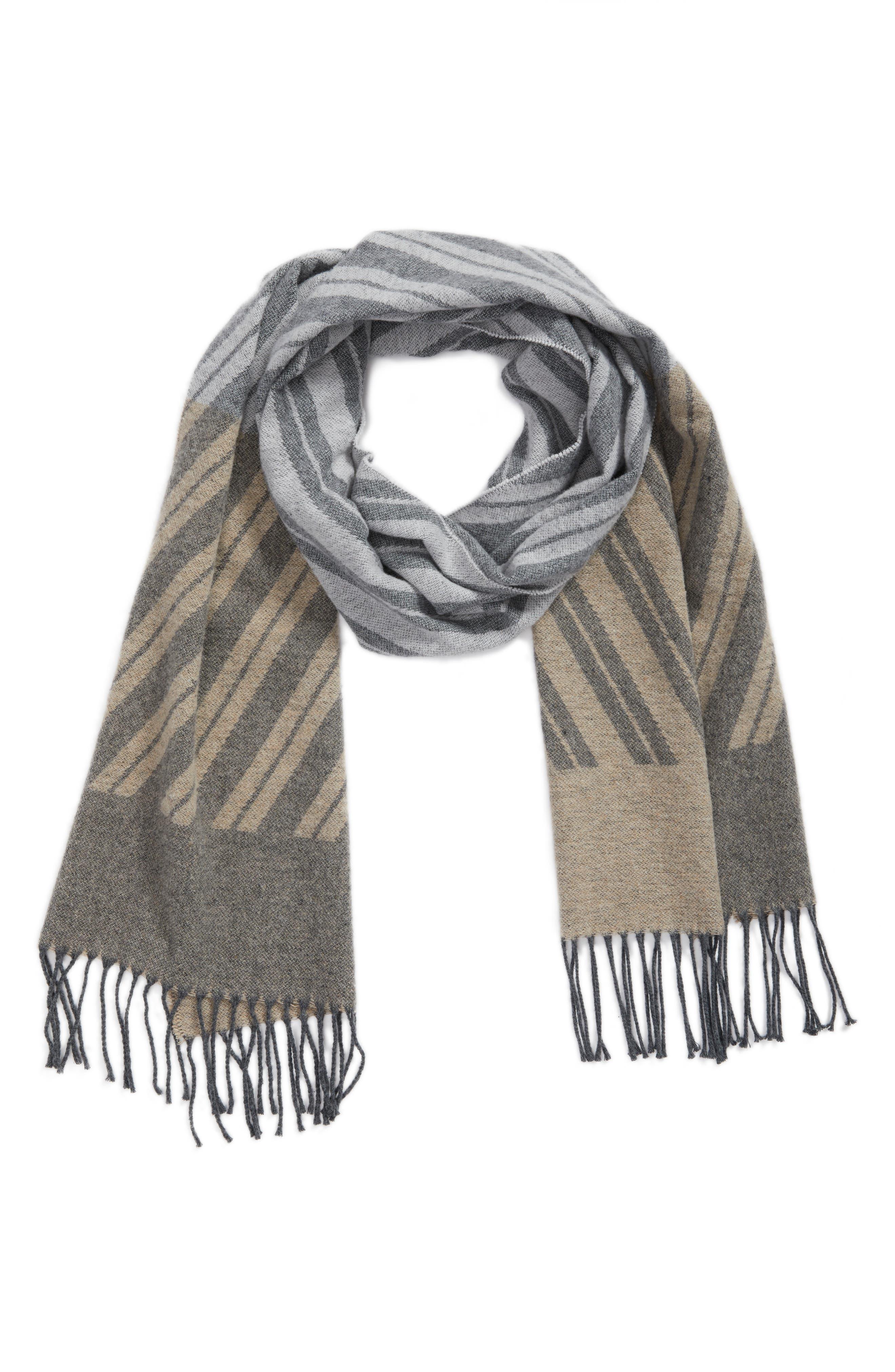 Colorblock Stripe Cotton Scarf,                             Alternate thumbnail 2, color,                             Maple Oat