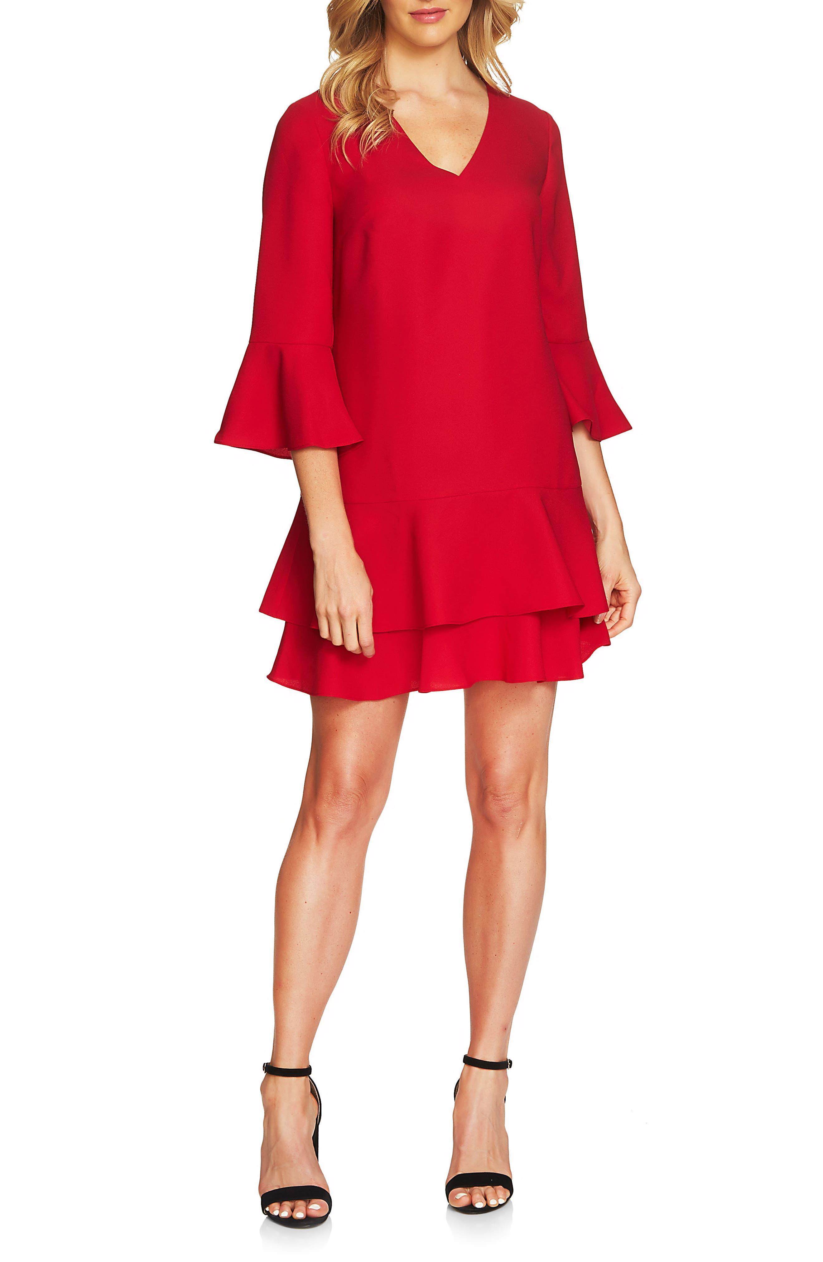 Katelyn Ruffle Shift Dress,                         Main,                         color, Crimson Red