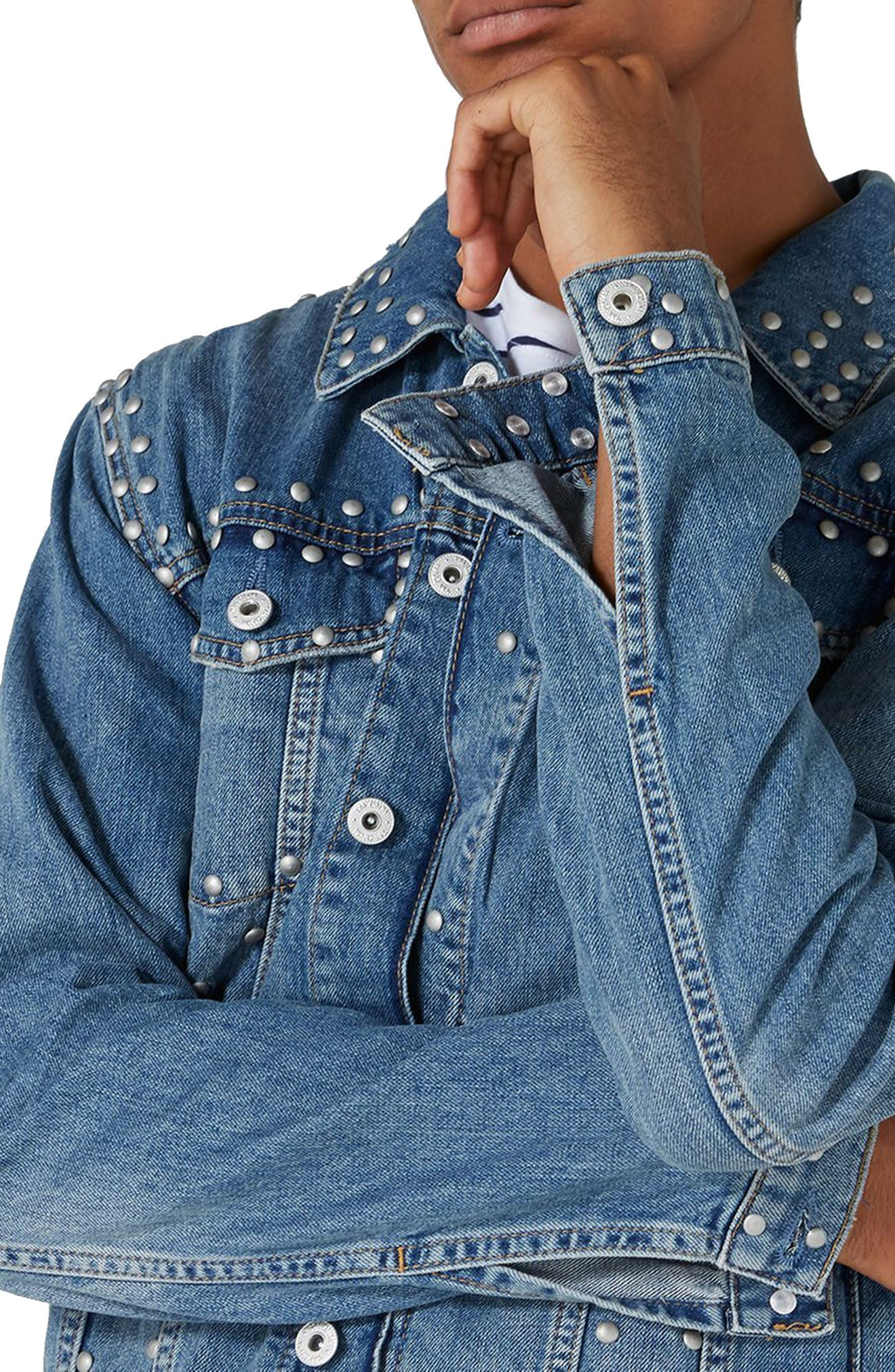 Studded Denim Jacket,                             Alternate thumbnail 4, color,                             Light Blue