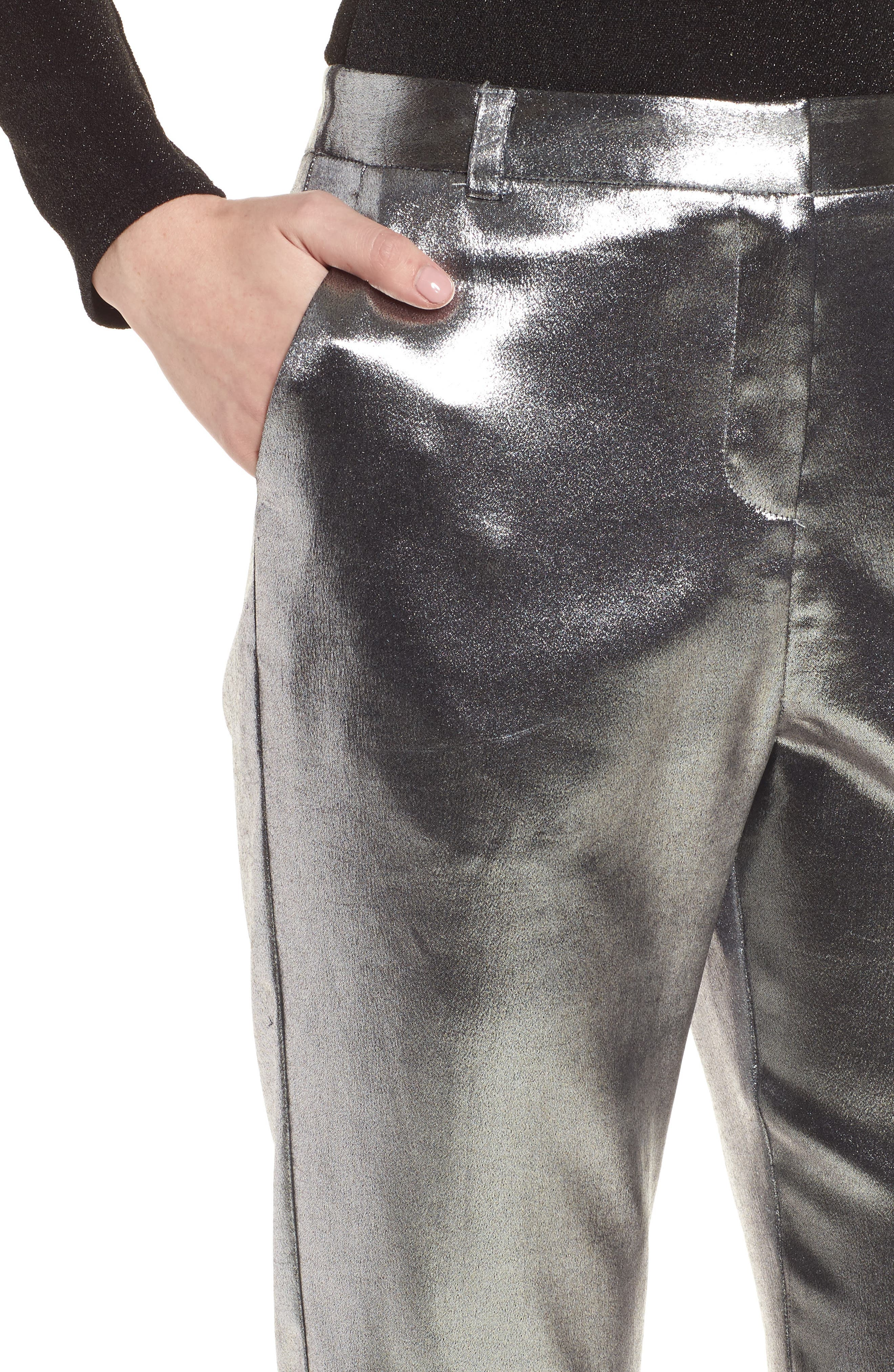 Metallic Suit Trousers,                             Alternate thumbnail 5, color,                             Silver