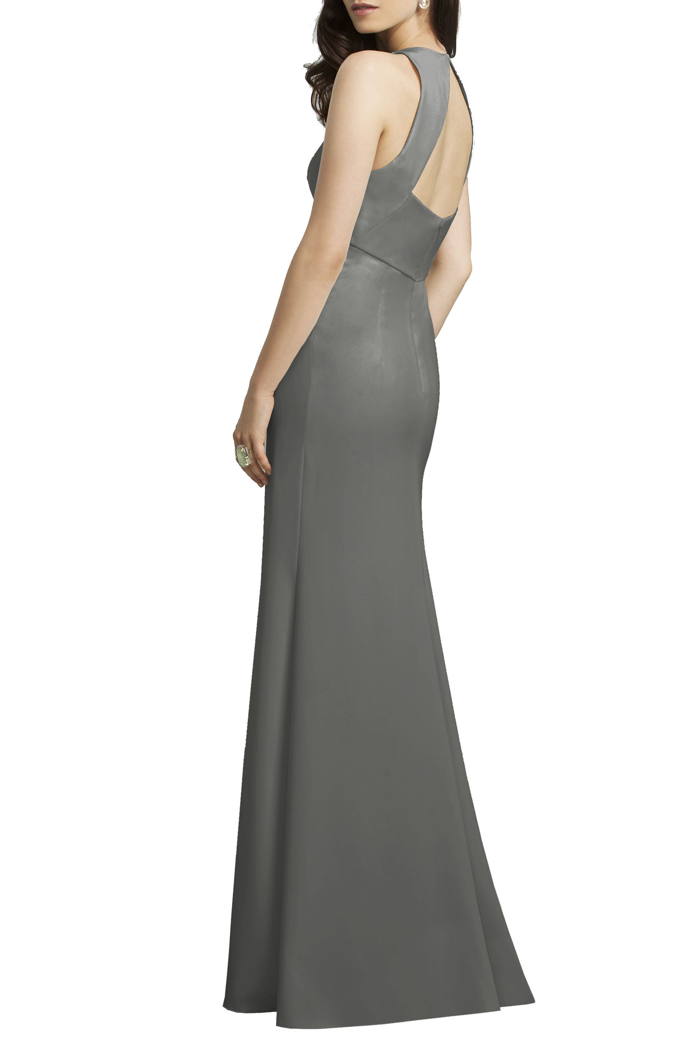 Crepe Gown,                             Alternate thumbnail 2, color,                             Charcoal Grey