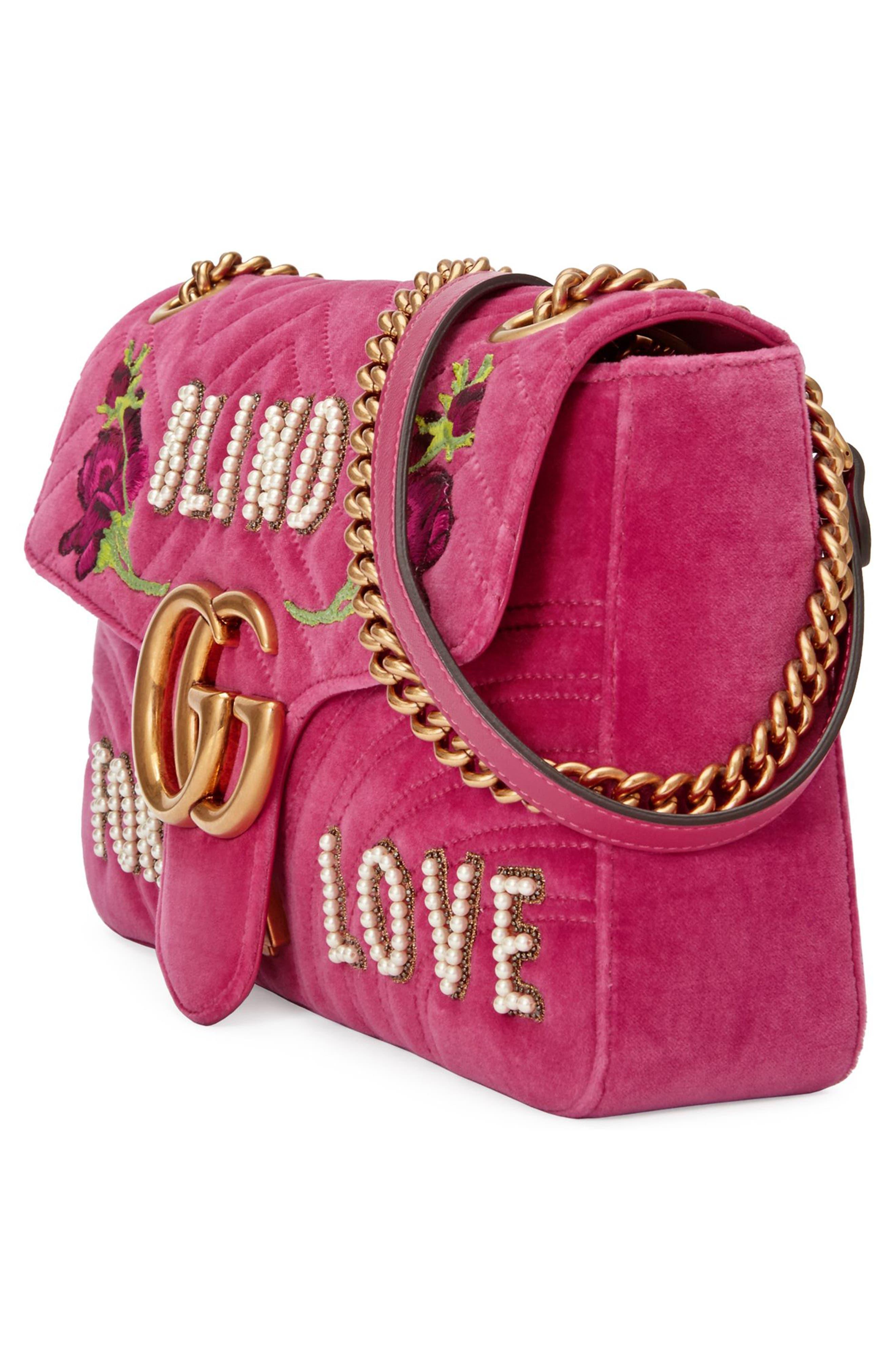 Alternate Image 4  - Gucci GG Marmont 2.0 Imitation Pearl Embellished Velvet Crossbody Bag