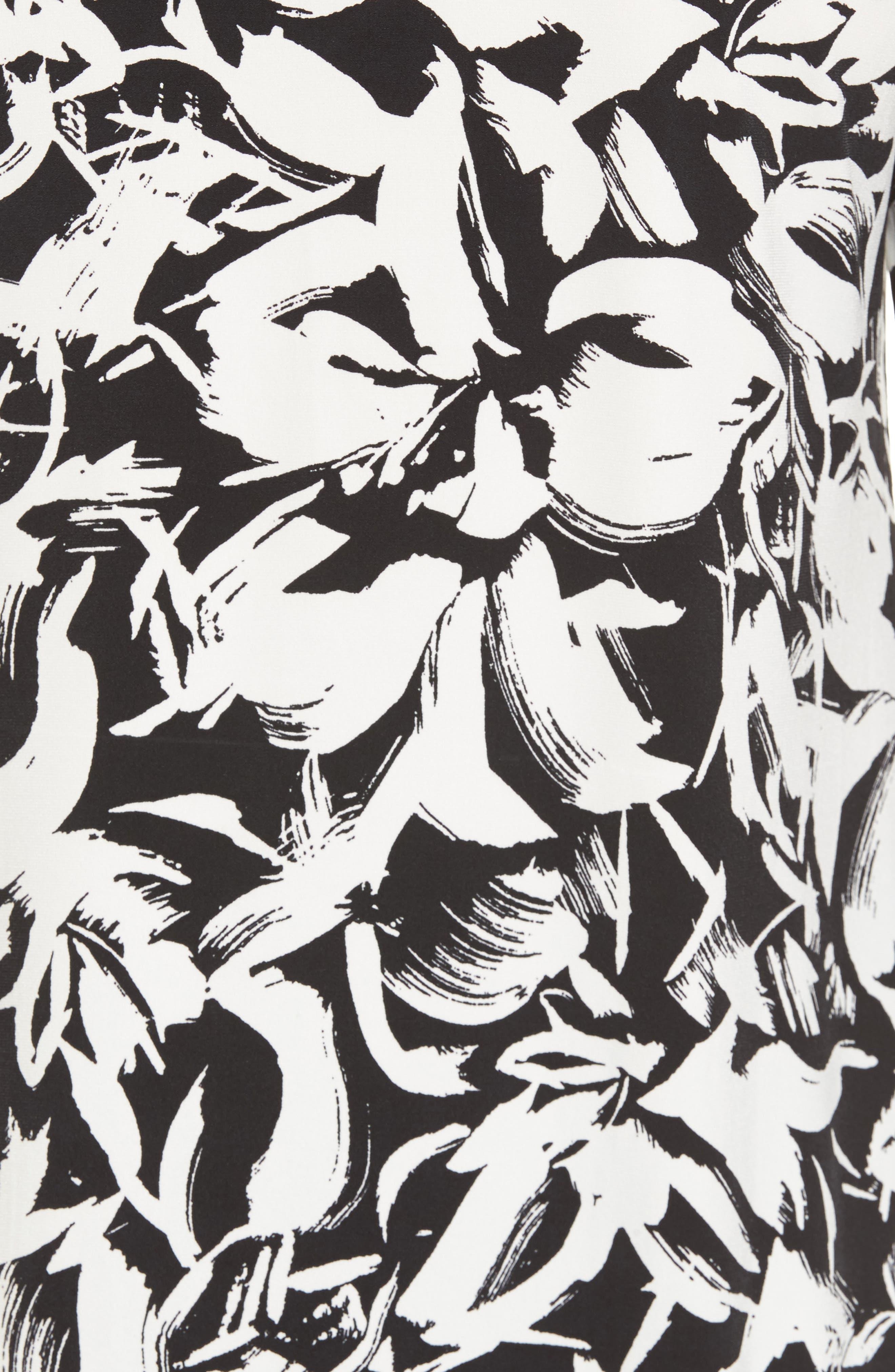 Floral Print Top,                             Alternate thumbnail 5, color,                             Rich Black