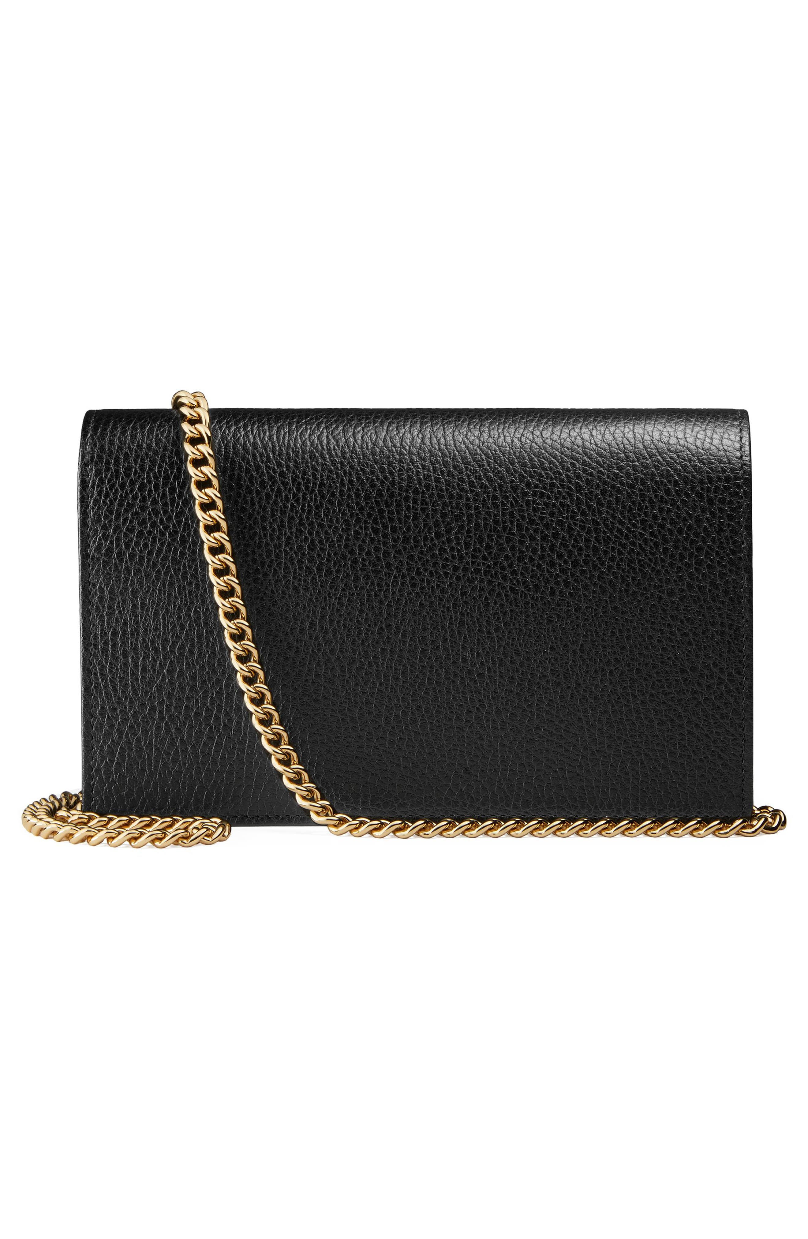 Petite Marmont Leather Wallet on a Chain,                             Alternate thumbnail 4, color,                             Nero