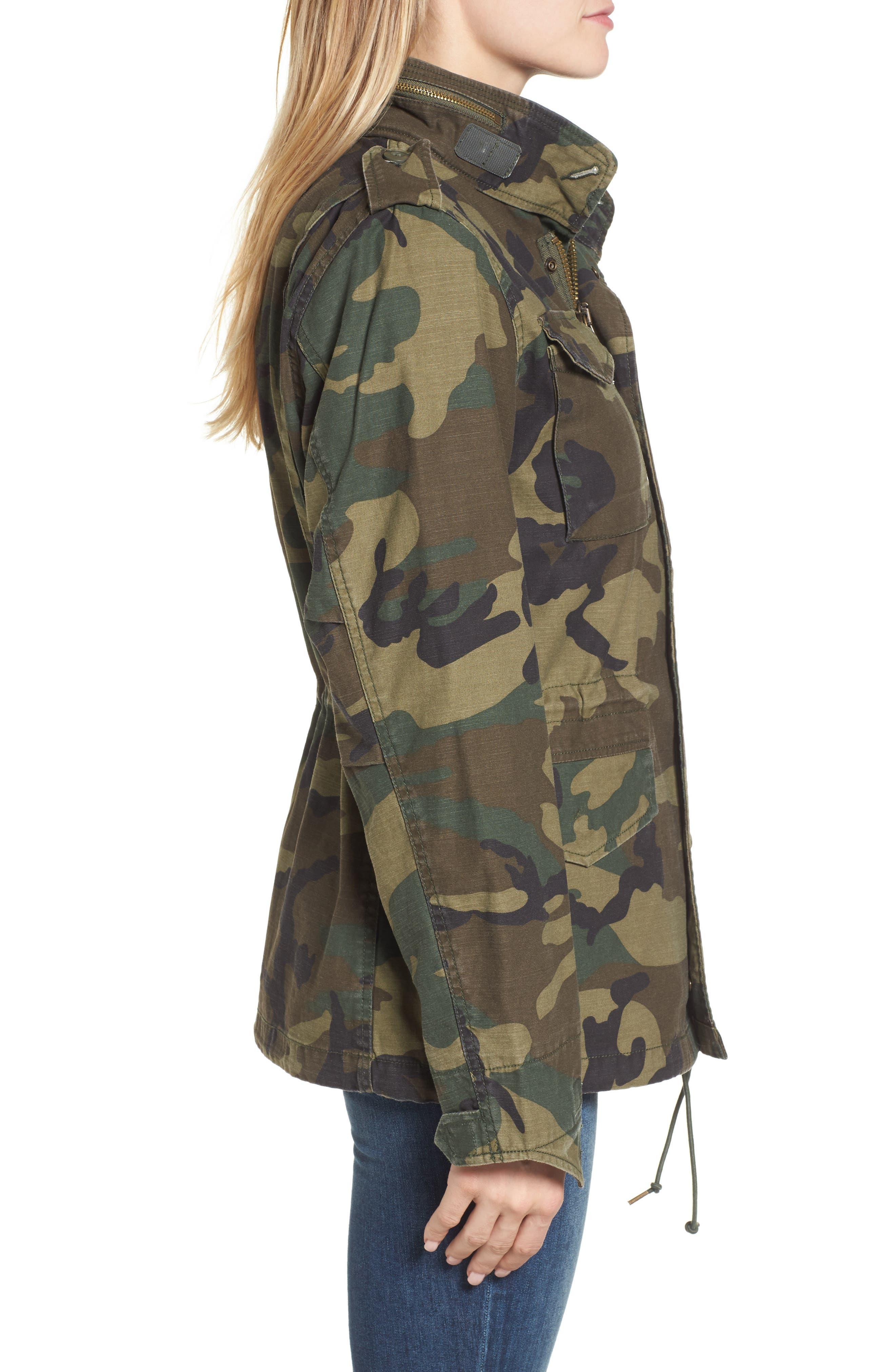 M-65 Defender Camo Field Jacket,                             Alternate thumbnail 3, color,                             Woodland Camo