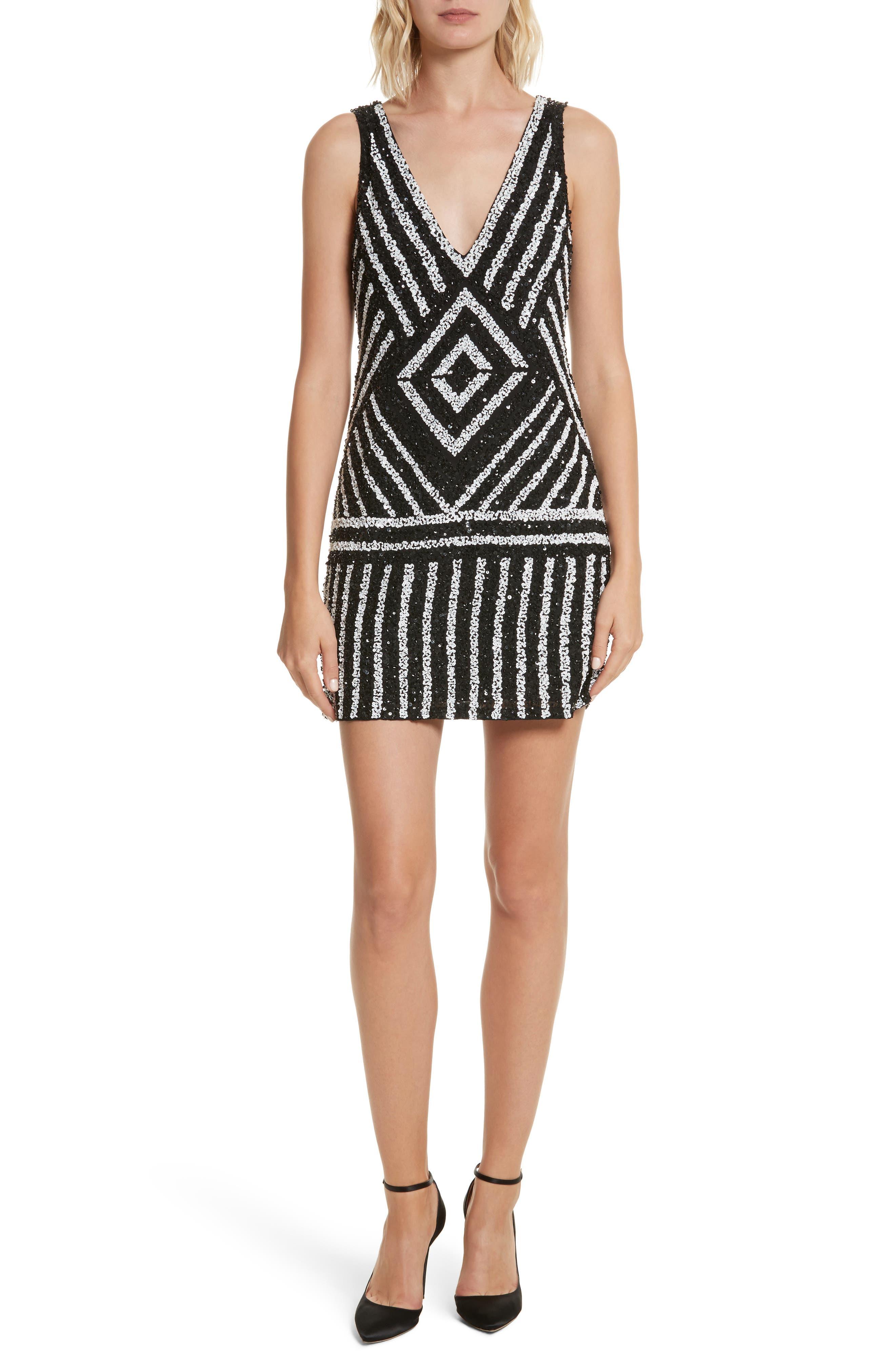 Venetia Embellished Shift Dress,                         Main,                         color, Black/ White