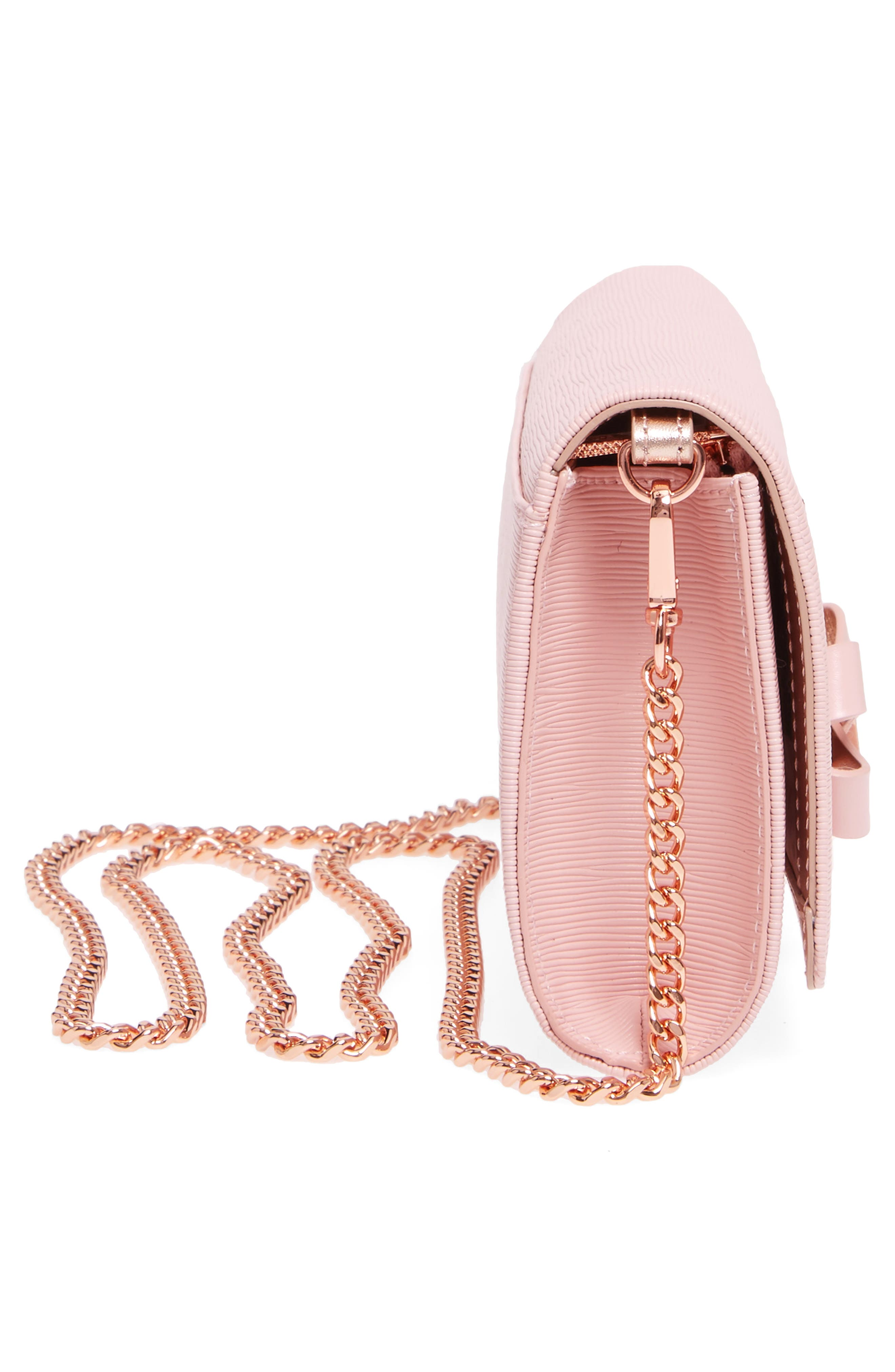Melisia Bow Leather Mantinee Wallet on a Chain,                             Alternate thumbnail 5, color,                             Light Pink