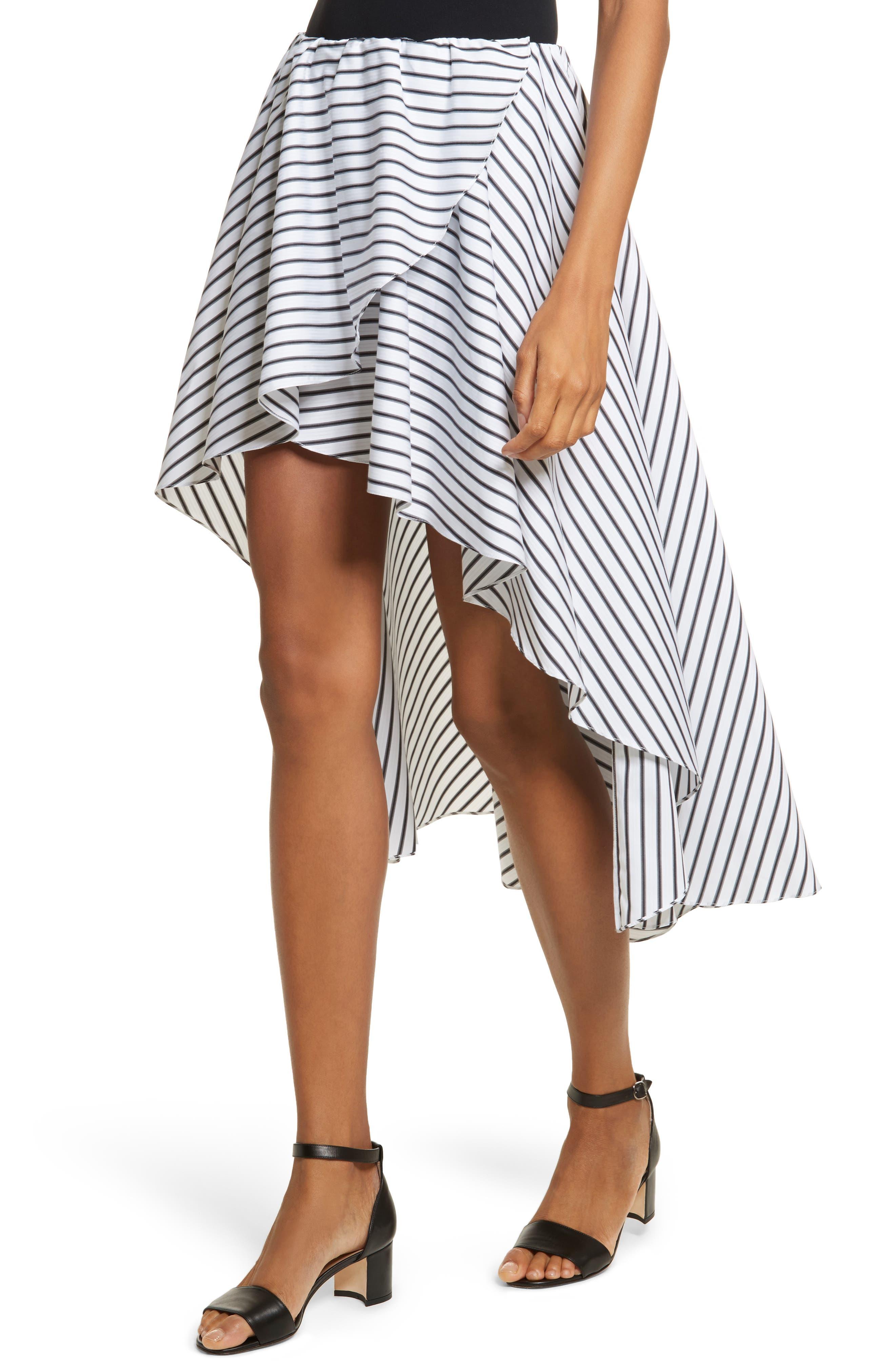 Adelle High/Low Ruffle Skirt,                             Alternate thumbnail 3, color,                             White/ Black
