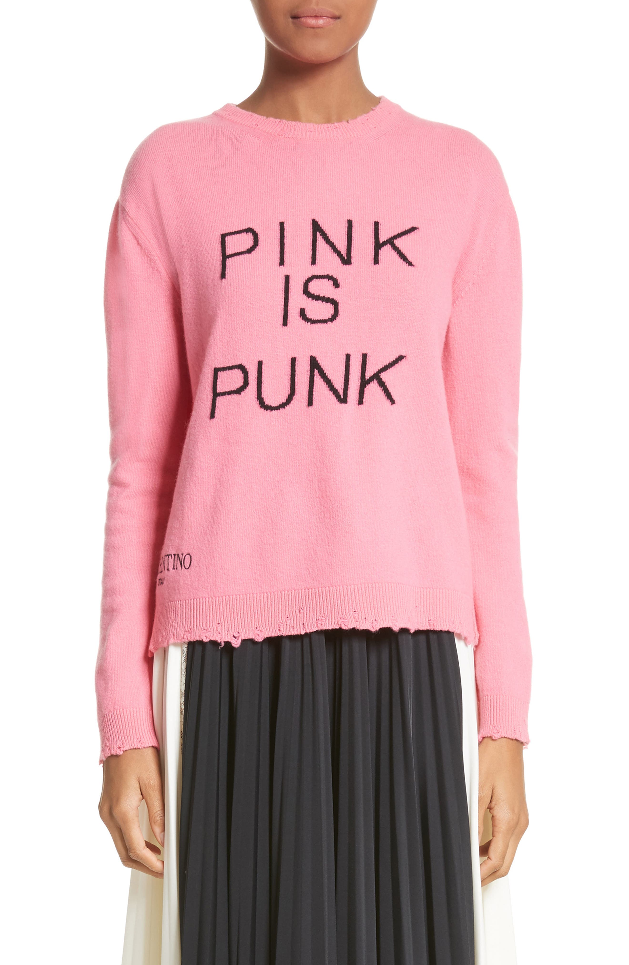 Pink Is Punk Wool & Cashmere Sweater,                         Main,                         color, Pink