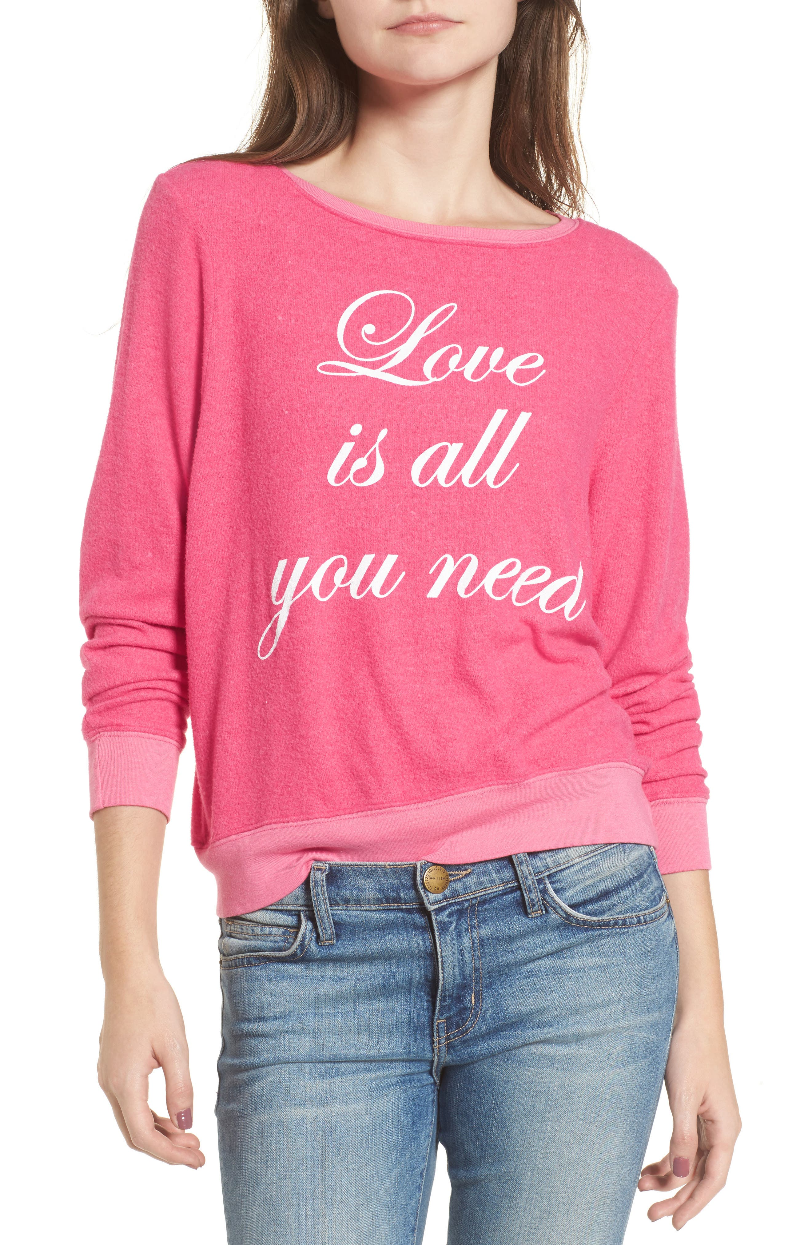 Love Is All Sweatshirt,                             Main thumbnail 1, color,                             Neon Pink