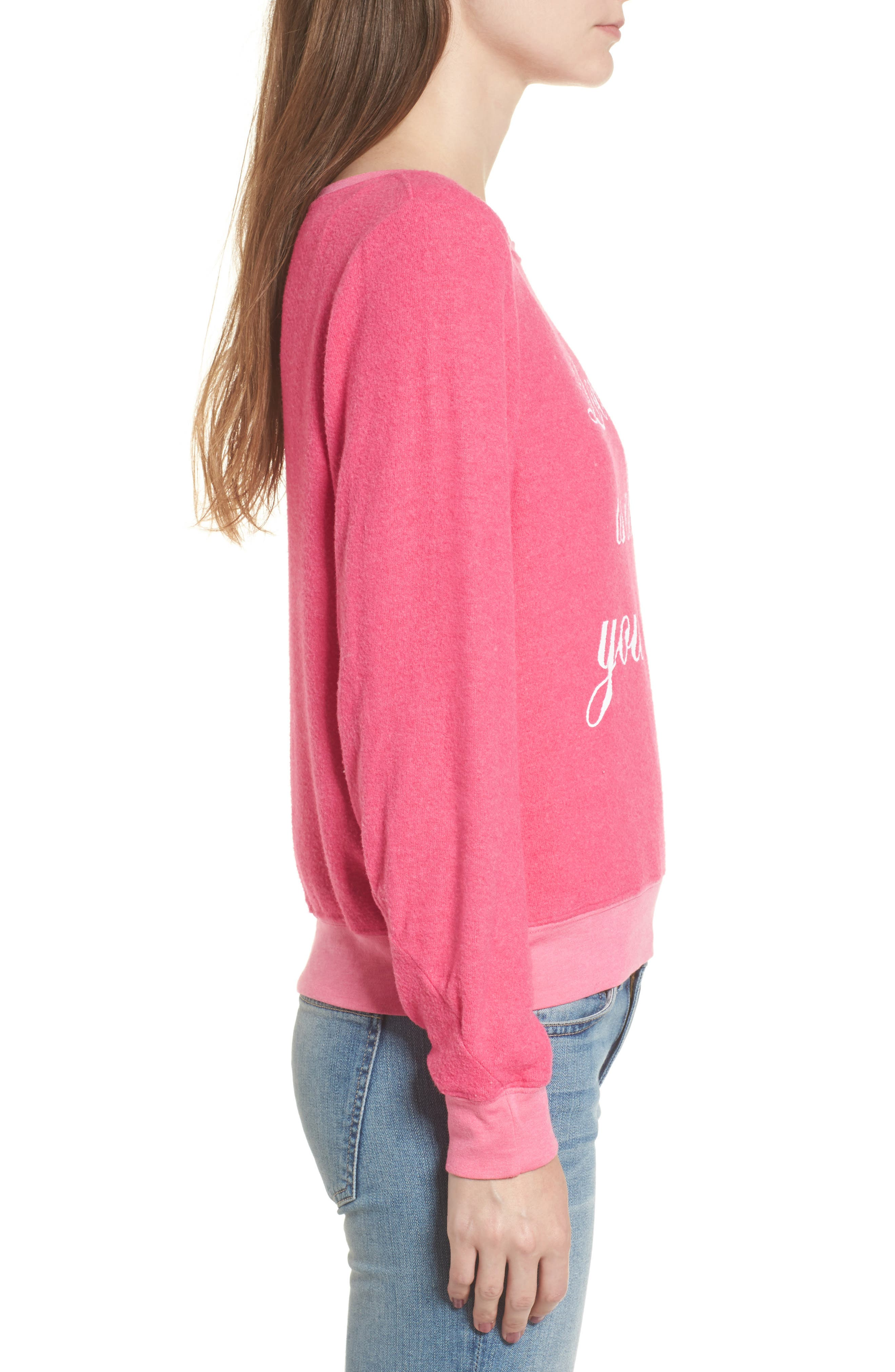 Love Is All Sweatshirt,                             Alternate thumbnail 3, color,                             Neon Pink