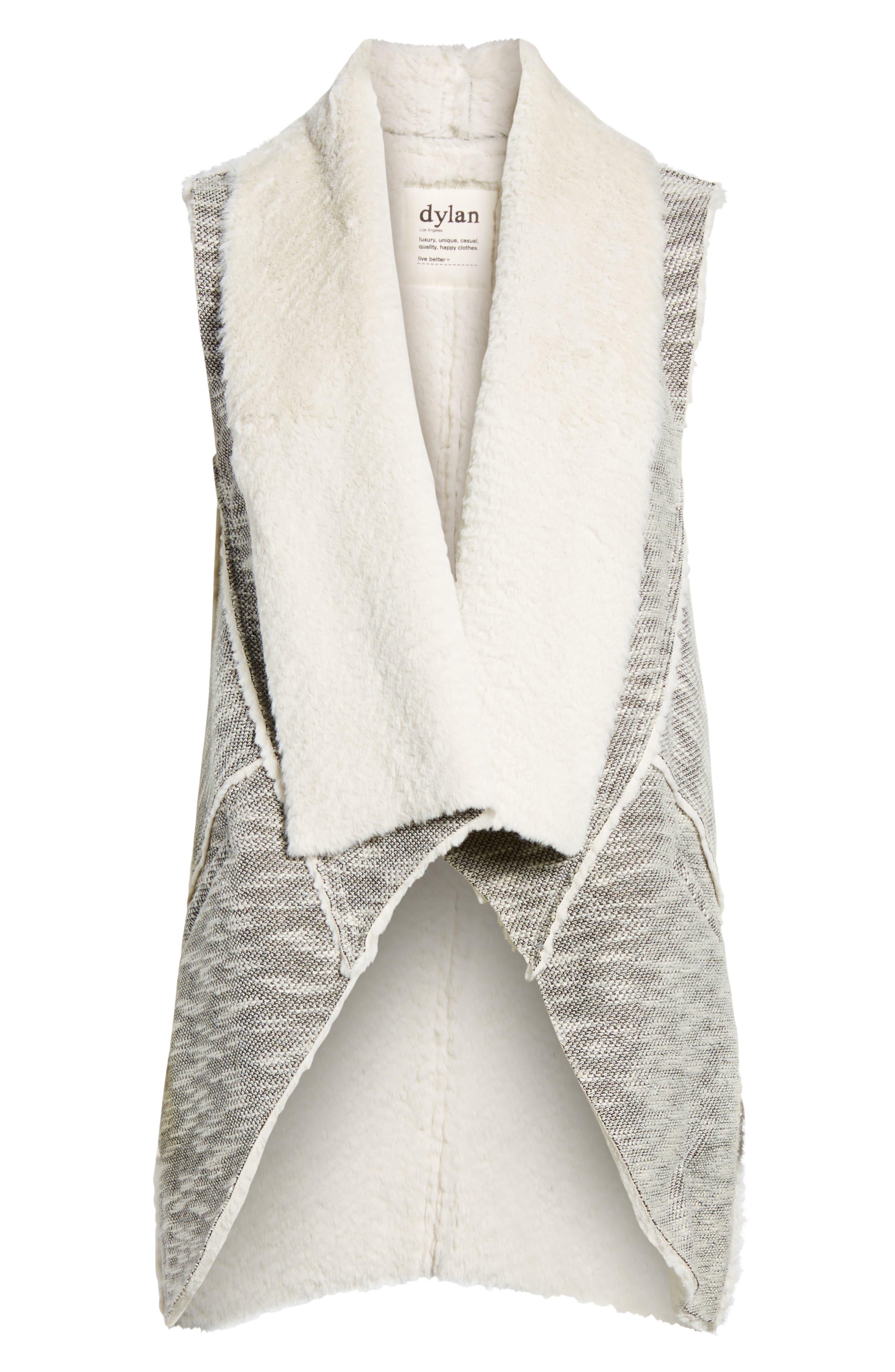 Faux Shearling Vest,                             Alternate thumbnail 6, color,                             Black/ White