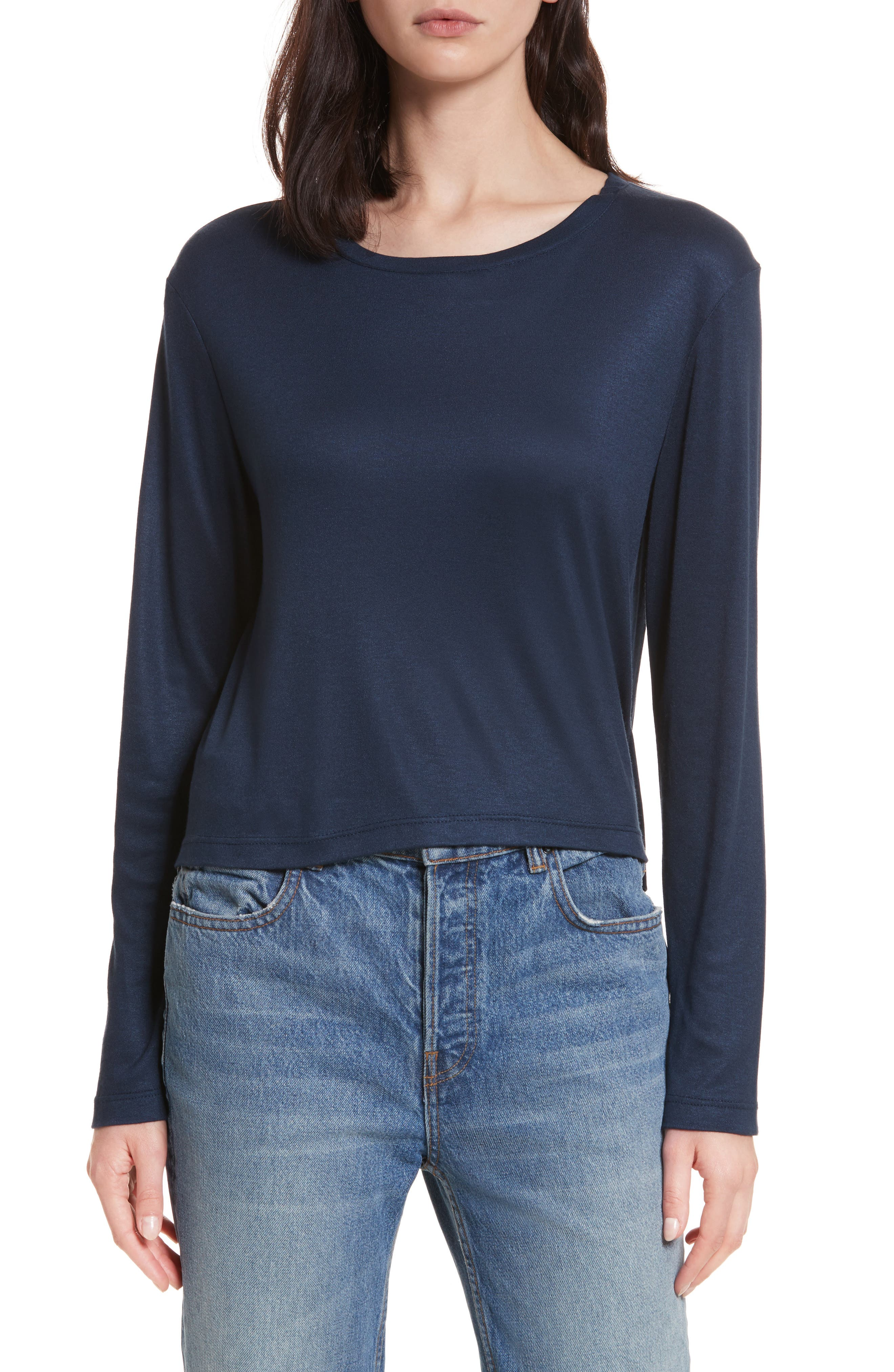 Willow Shine Jersey Open Back Top,                             Main thumbnail 1, color,                             Dark Navy
