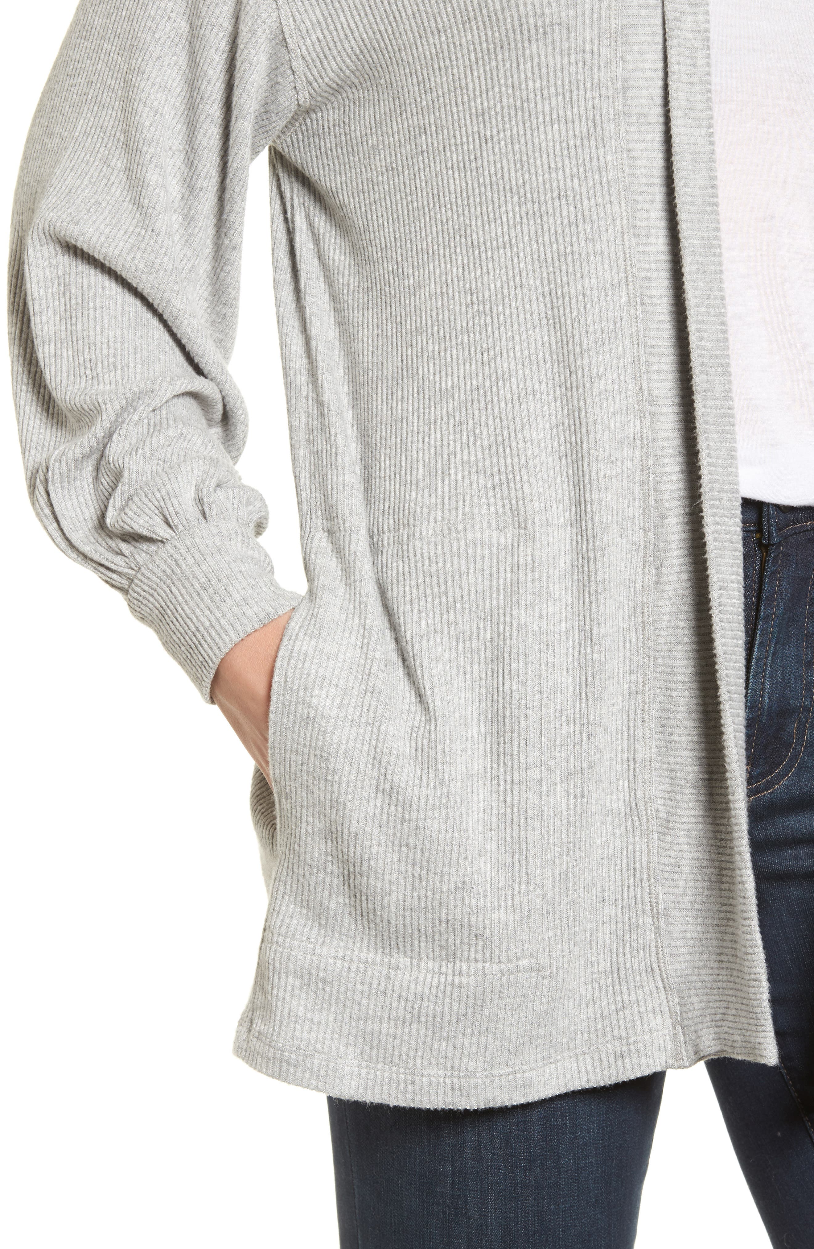Ribbed Blouson Sleeve Cardigan,                             Alternate thumbnail 4, color,                             Heather Grey